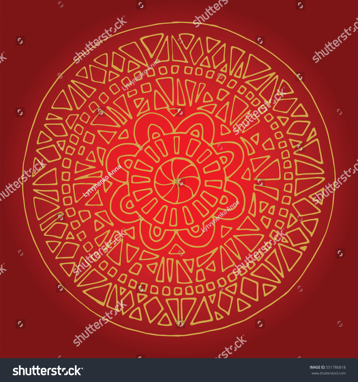 Flower Mandala Wedding Invitation Hand Drawn Stock Vector 551786818 ...