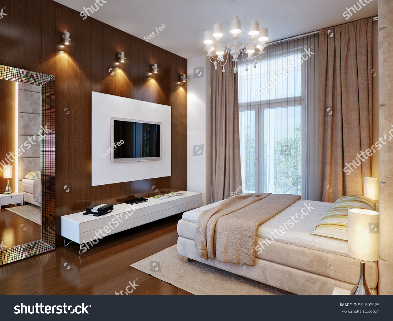 Spacious Master Bedroom Wooden Wall Panels Stock Illustration 551802925