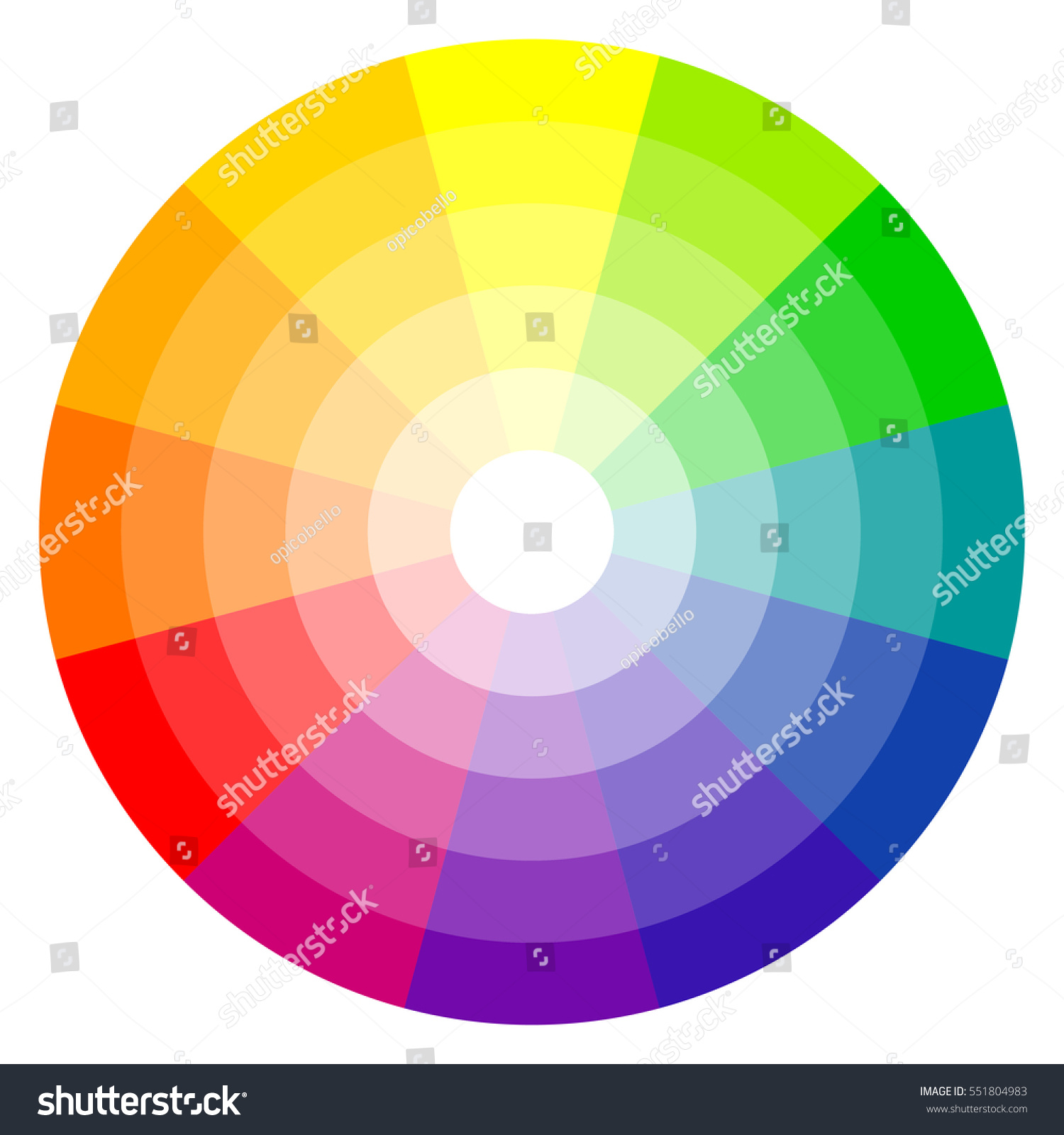 Illustration Printing Color Wheel Twelve Colors Stock