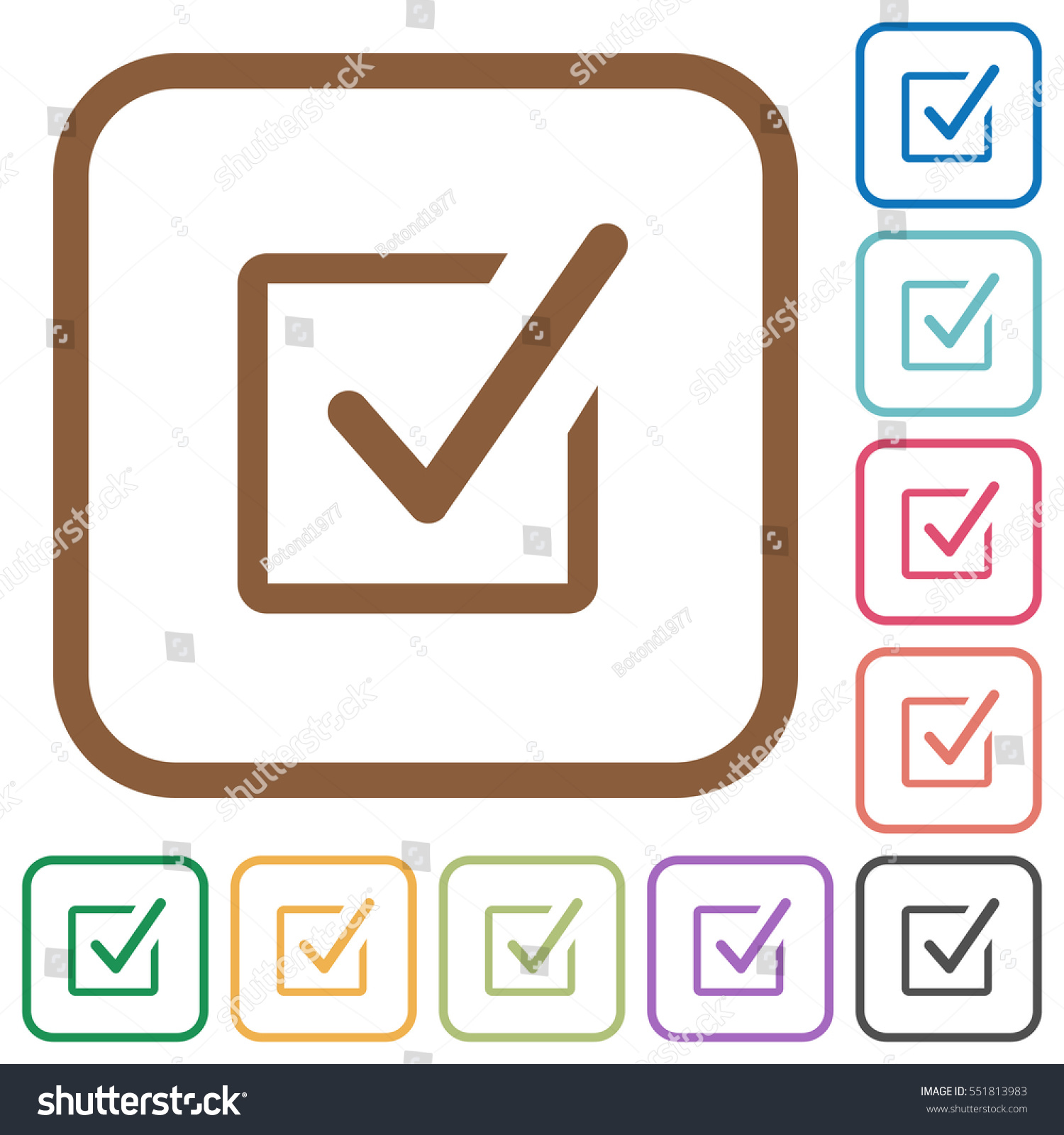 Checked box simple icons color rounded stock vector 551813983 checked box simple icons in color rounded square frames on white background biocorpaavc Gallery
