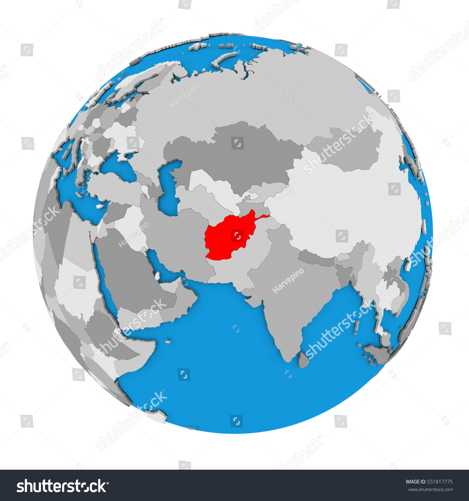 Map Afghanistan Highlighted Red On Globe Stock Illustration