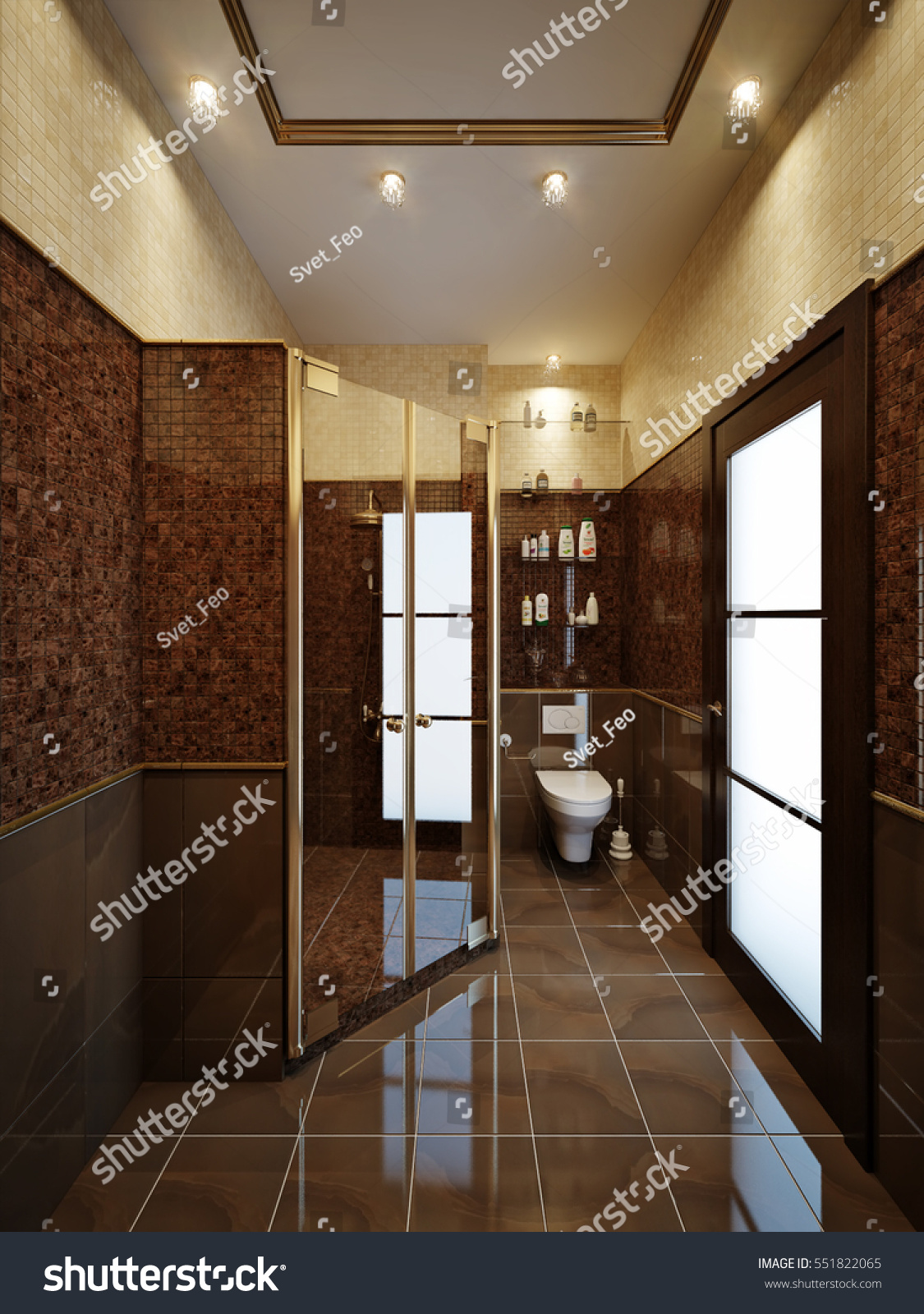 Furnished Bathroom Luxury Home Marble Tile Stock Illustration 551822065