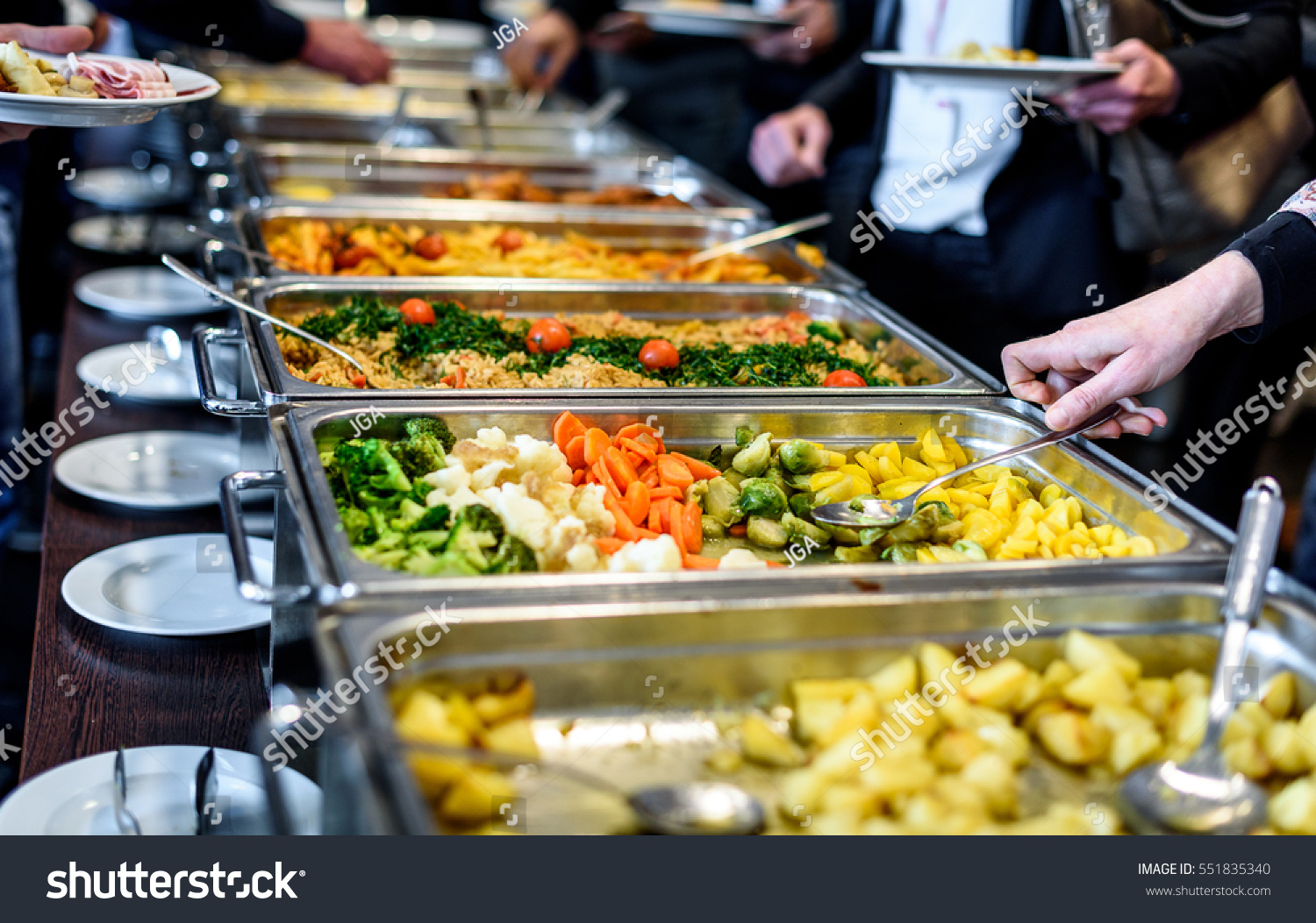 cuisine culinary buffet dinner catering dining stock photo 551835340 shutterstock. Black Bedroom Furniture Sets. Home Design Ideas