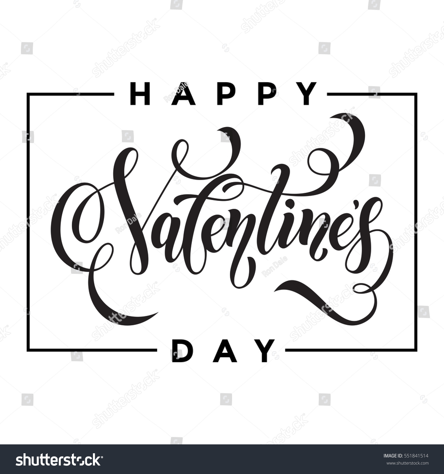 Saint Valentine Vector Heart Calligraphy Text Stock Vector