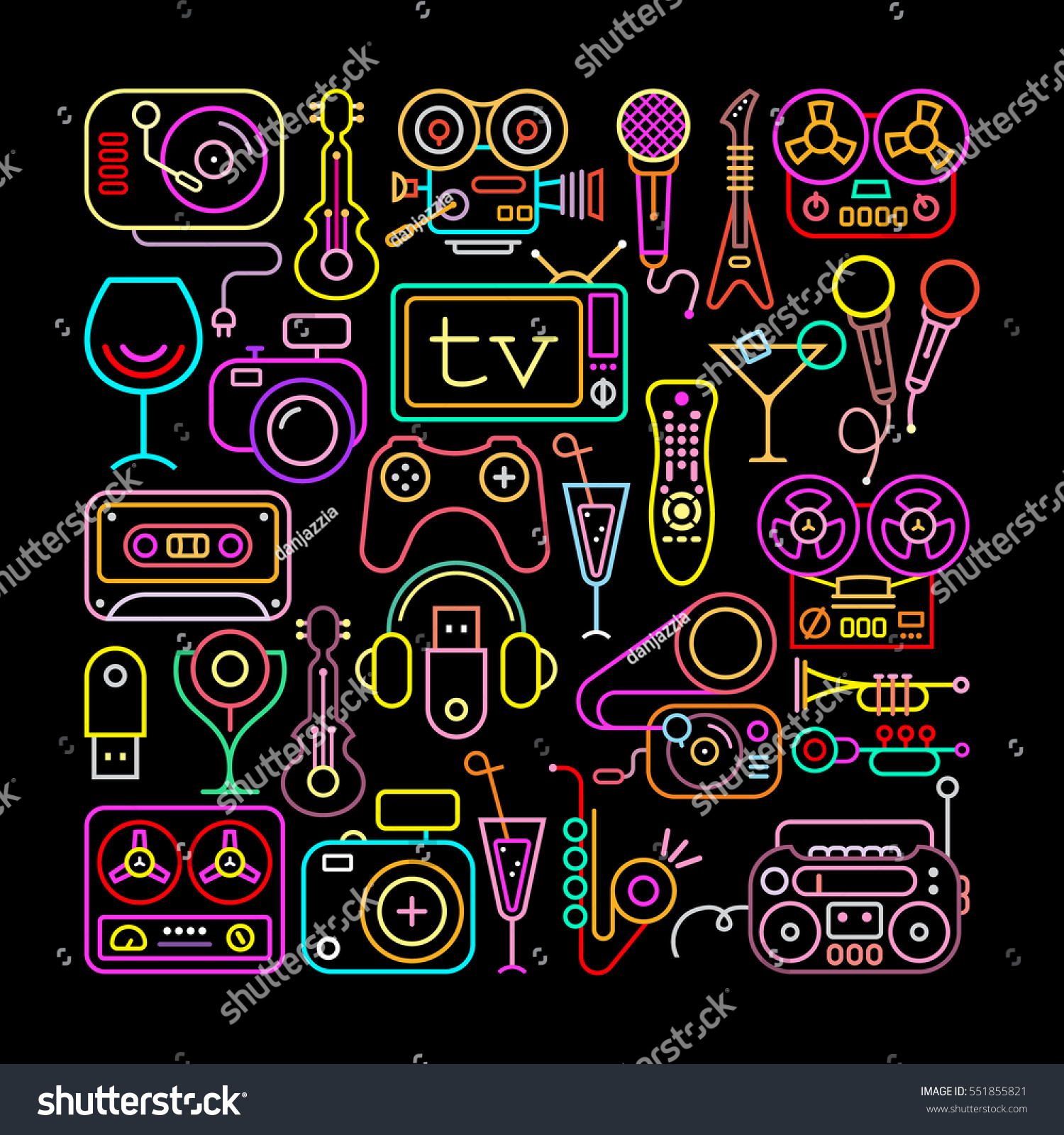 Entertainment Icons Square Shape Illustration Neon Colors Line Art Silhouettes Isolated On A Black Background
