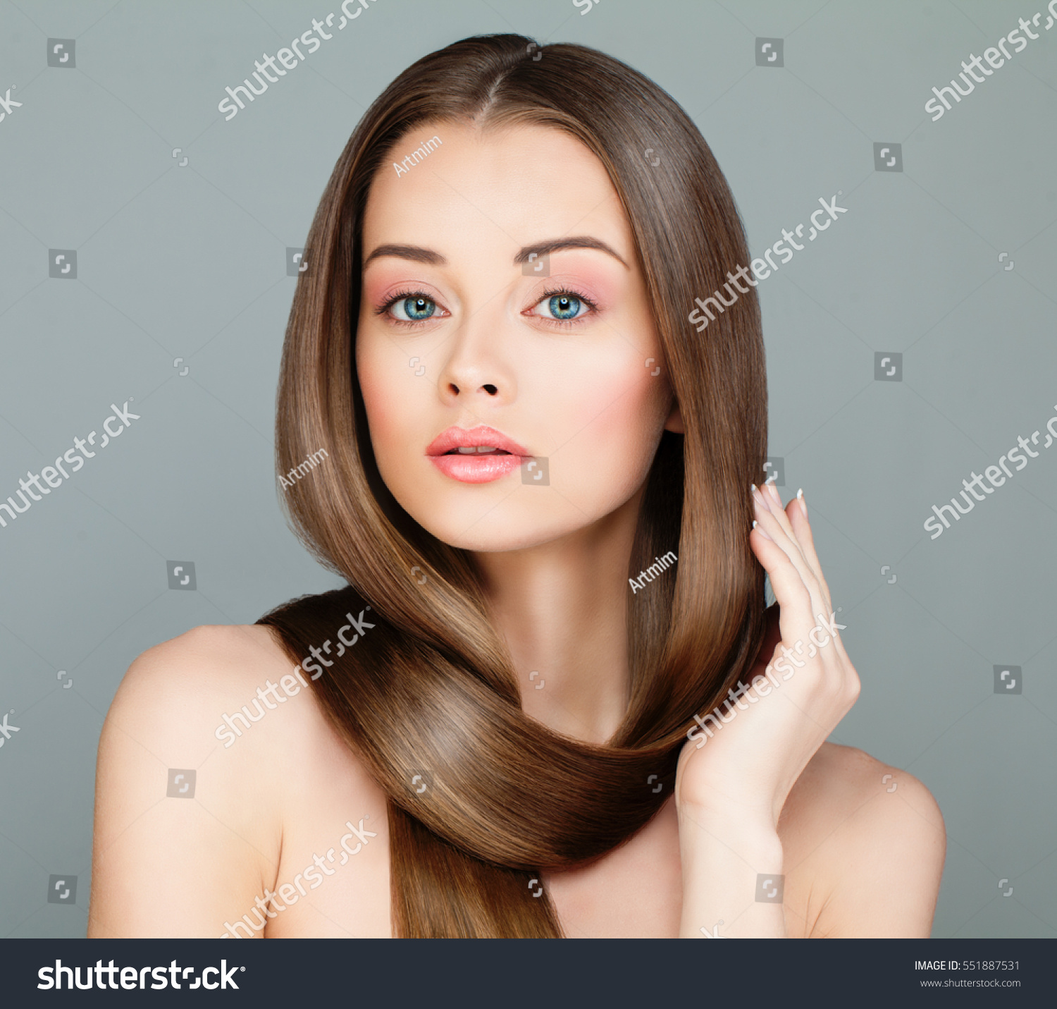 woman long healthy hairstyle beautiful model stock photo 551887531