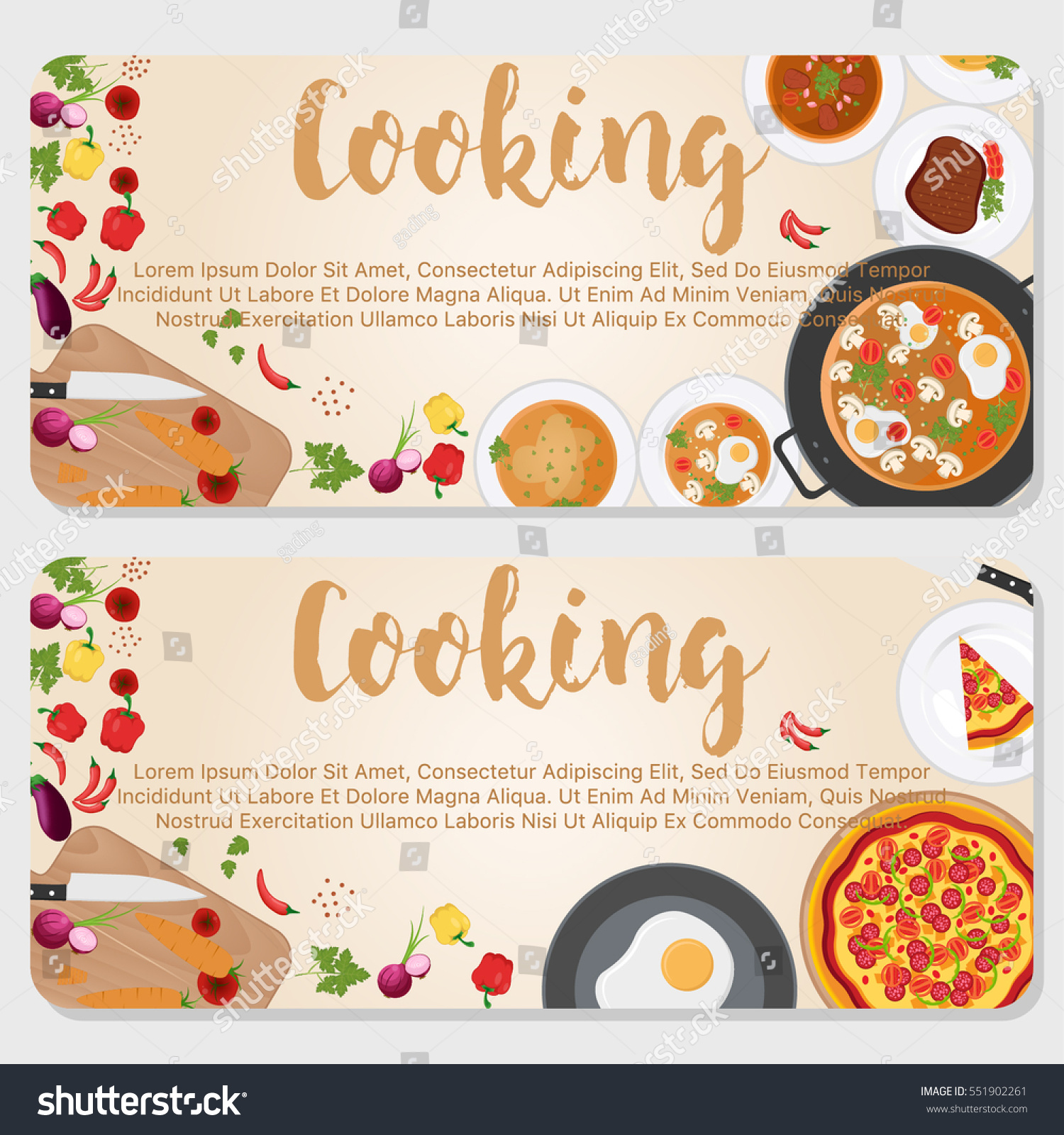 Cooking Banner Design Template Flayer Design Stock Vector Royalty Free 551902261
