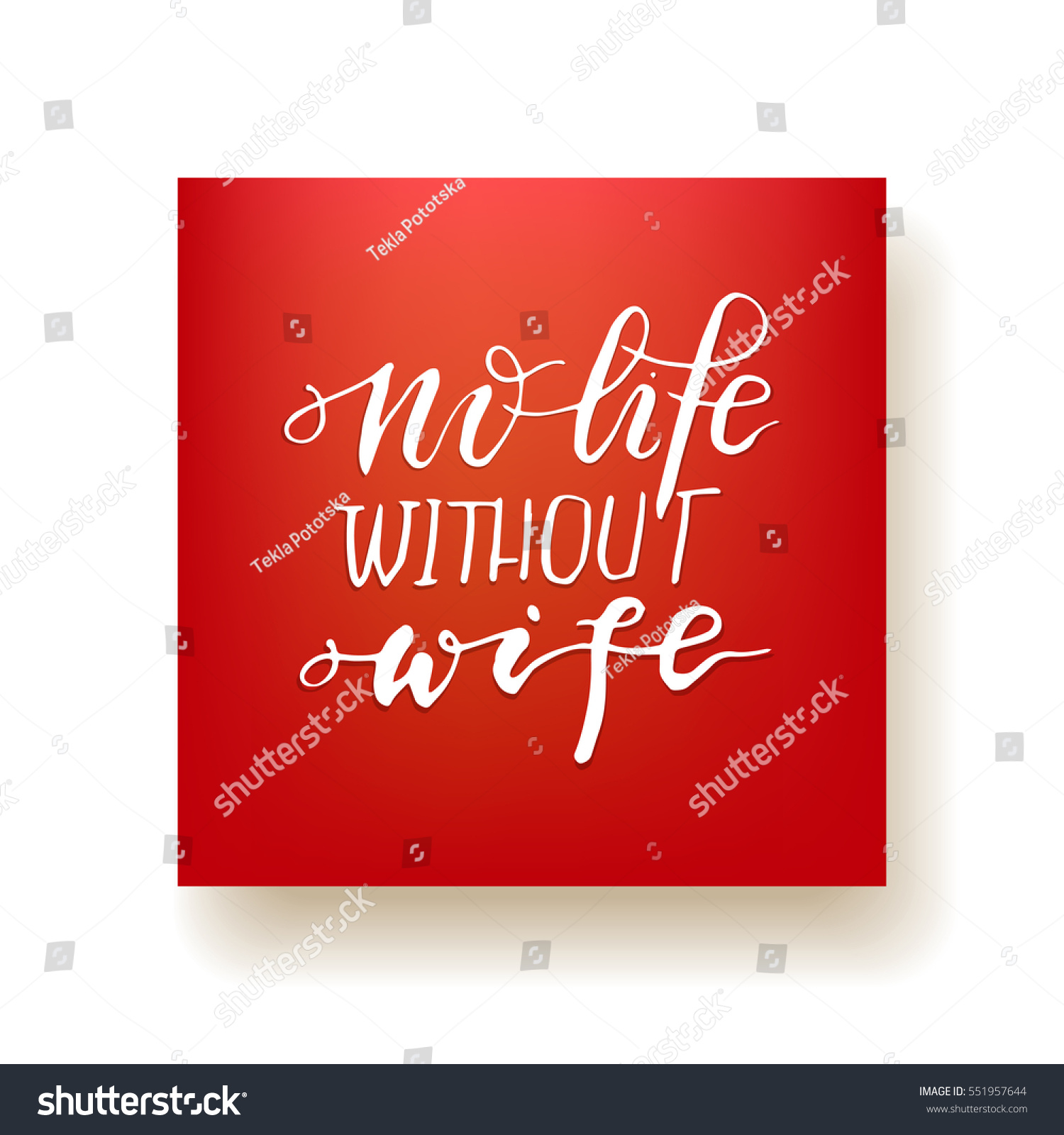 No Life Without Wife Hand Lettering Stock Vector Royalty Free