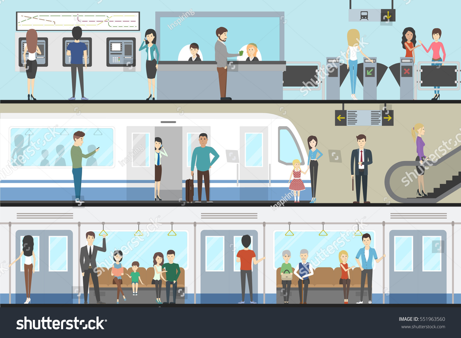 subway interior set train enter inside stock vector 551963560 shutterstock. Black Bedroom Furniture Sets. Home Design Ideas