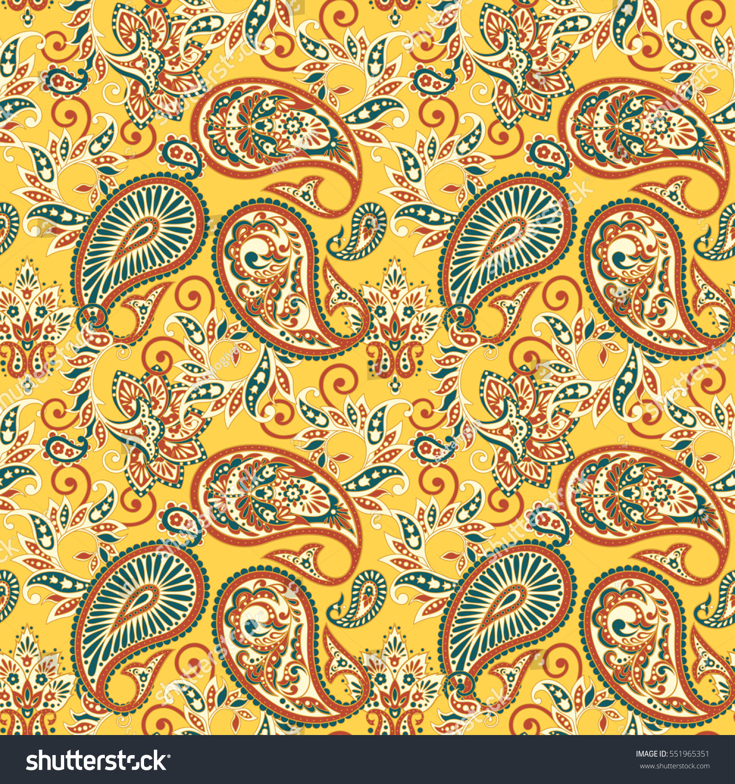 Paisley Floral Ornamental Pattern Seamless Arabic Stock Vector HD ... for Indian Fabric Designs Patterns  55jwn