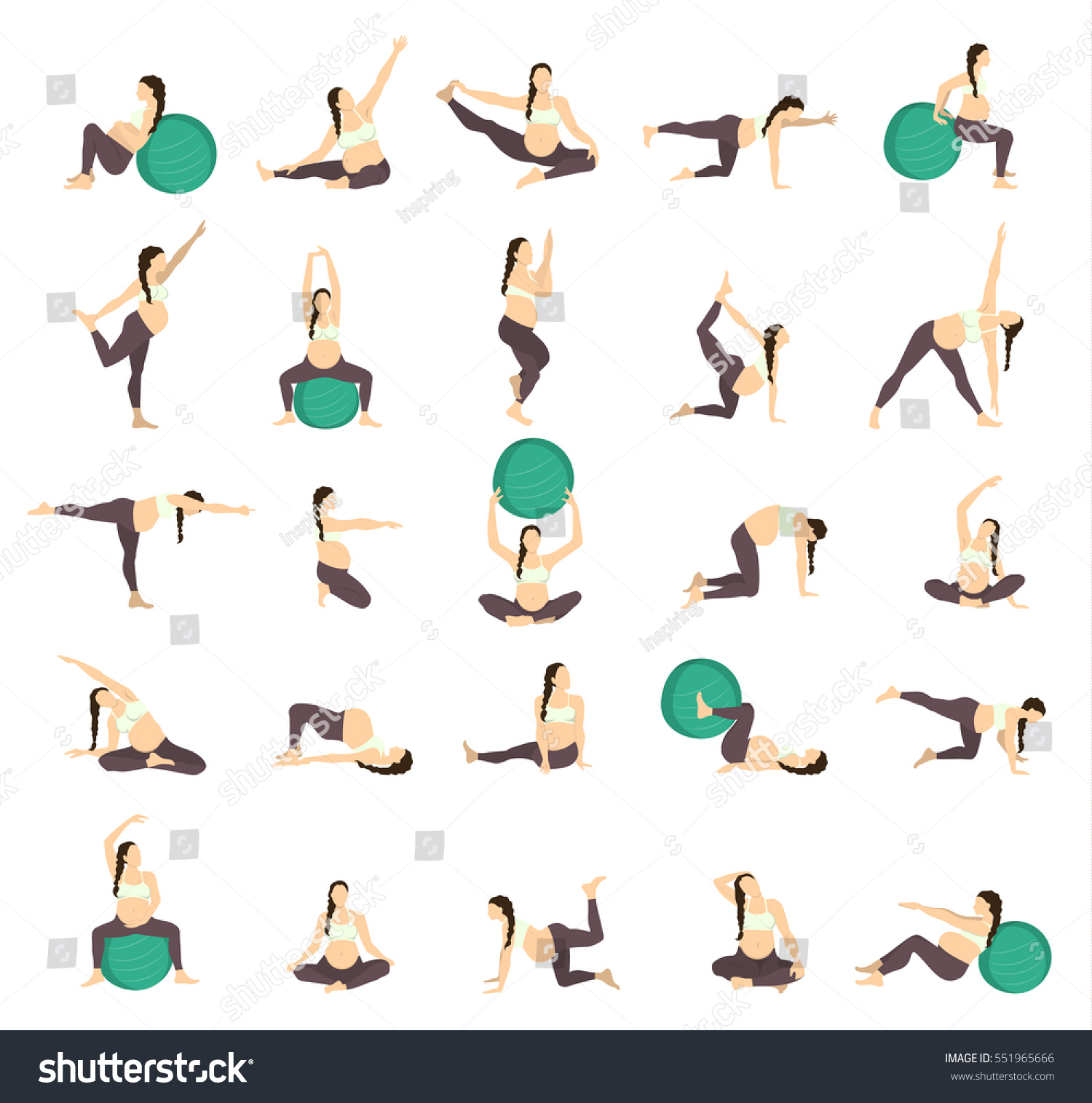 Balance Ball Exercises For Pregnancy: Workout Pregnant Set Exercises Fit Ball Stock Vector
