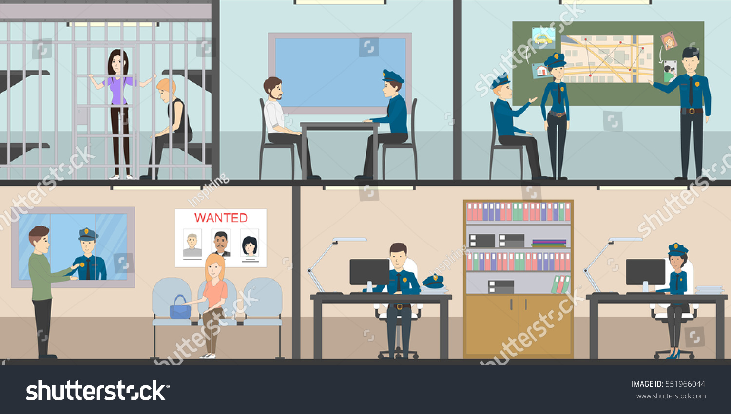 Police Station Interior Set Rooms Office Stock Vector HD (Royalty ...