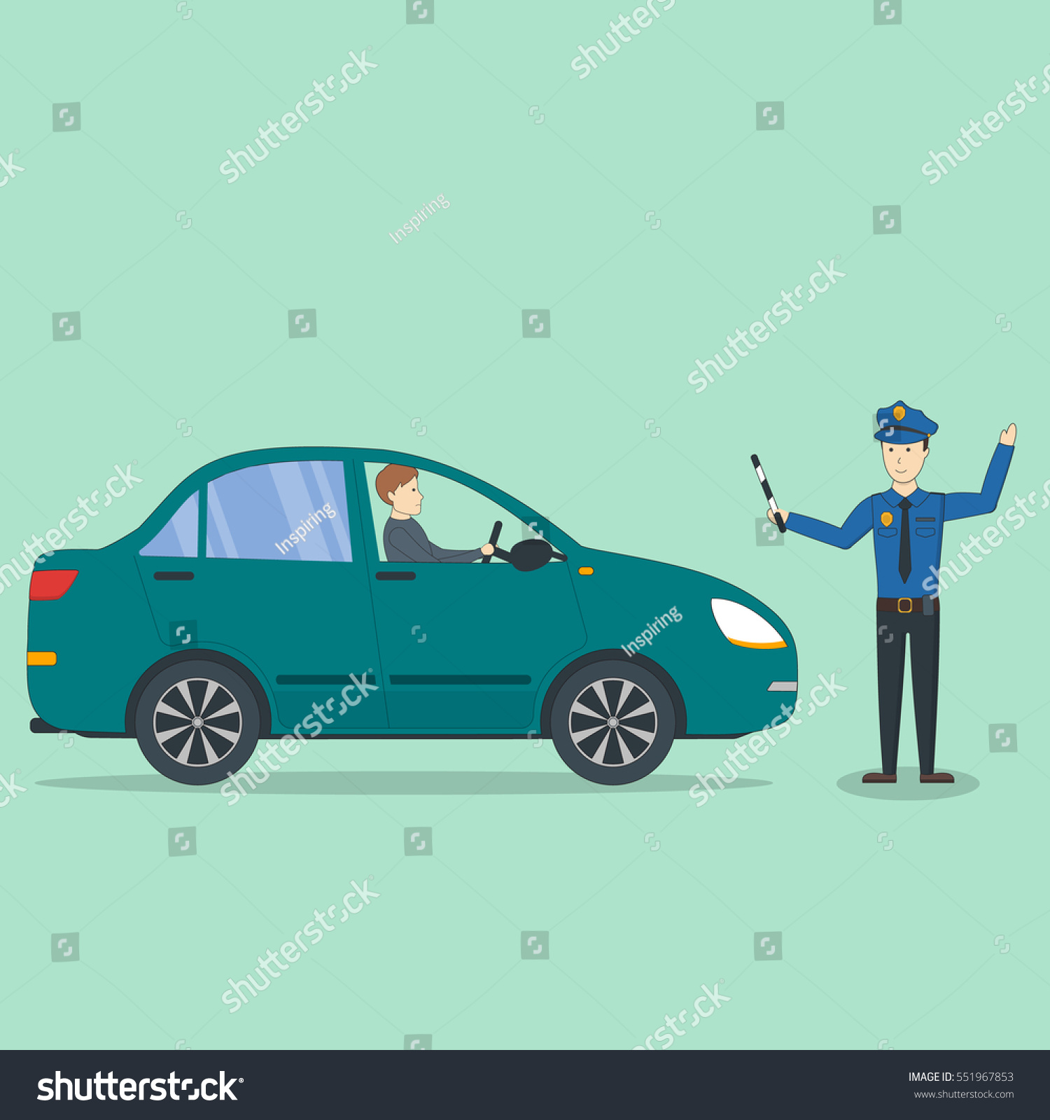 Car Accident Policeman Isolated Police Officer Stock Vector (Royalty ...