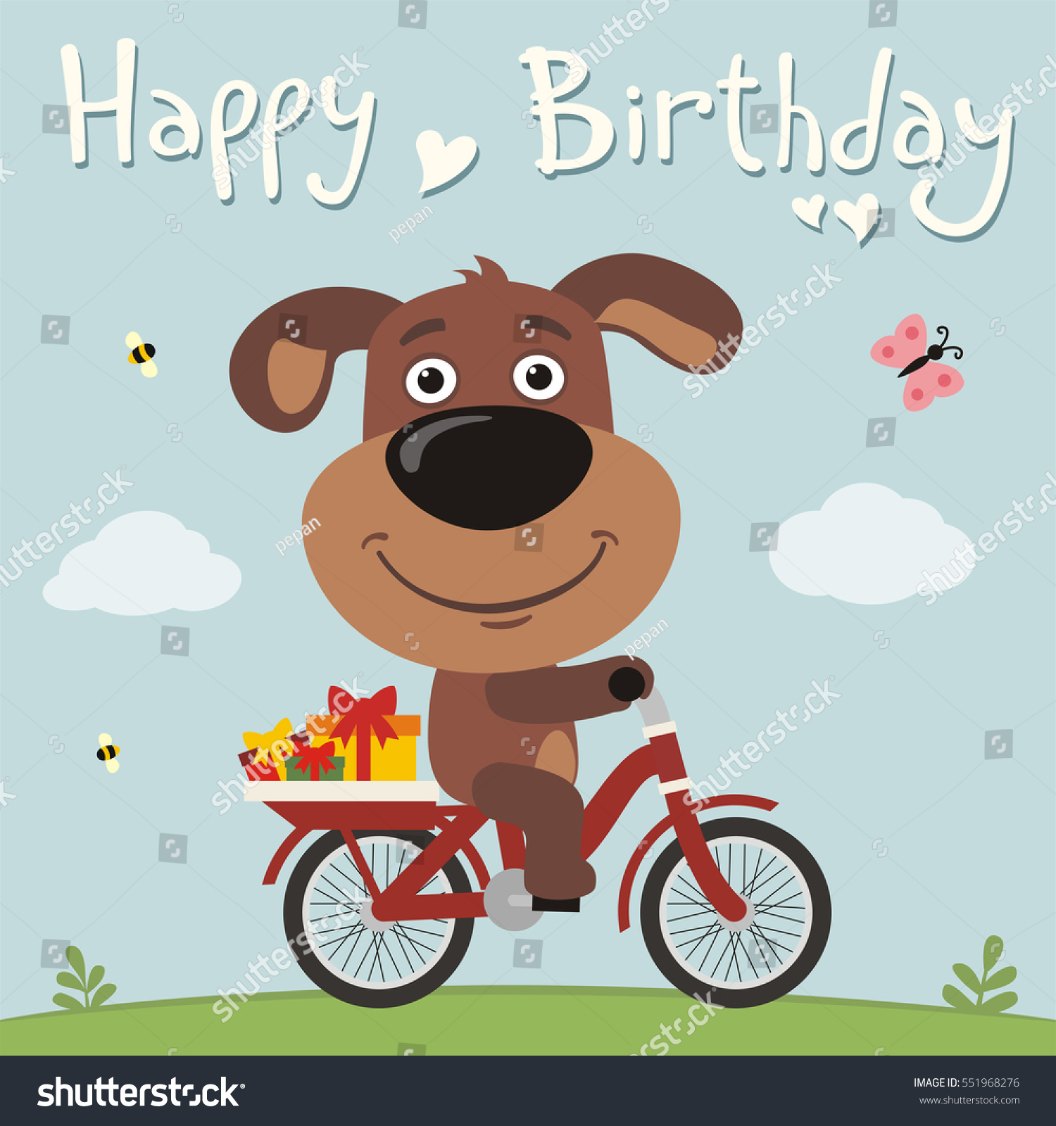 Happy Birthday Funny Puppy Dog On Stock Vector Royalty Free 551968276