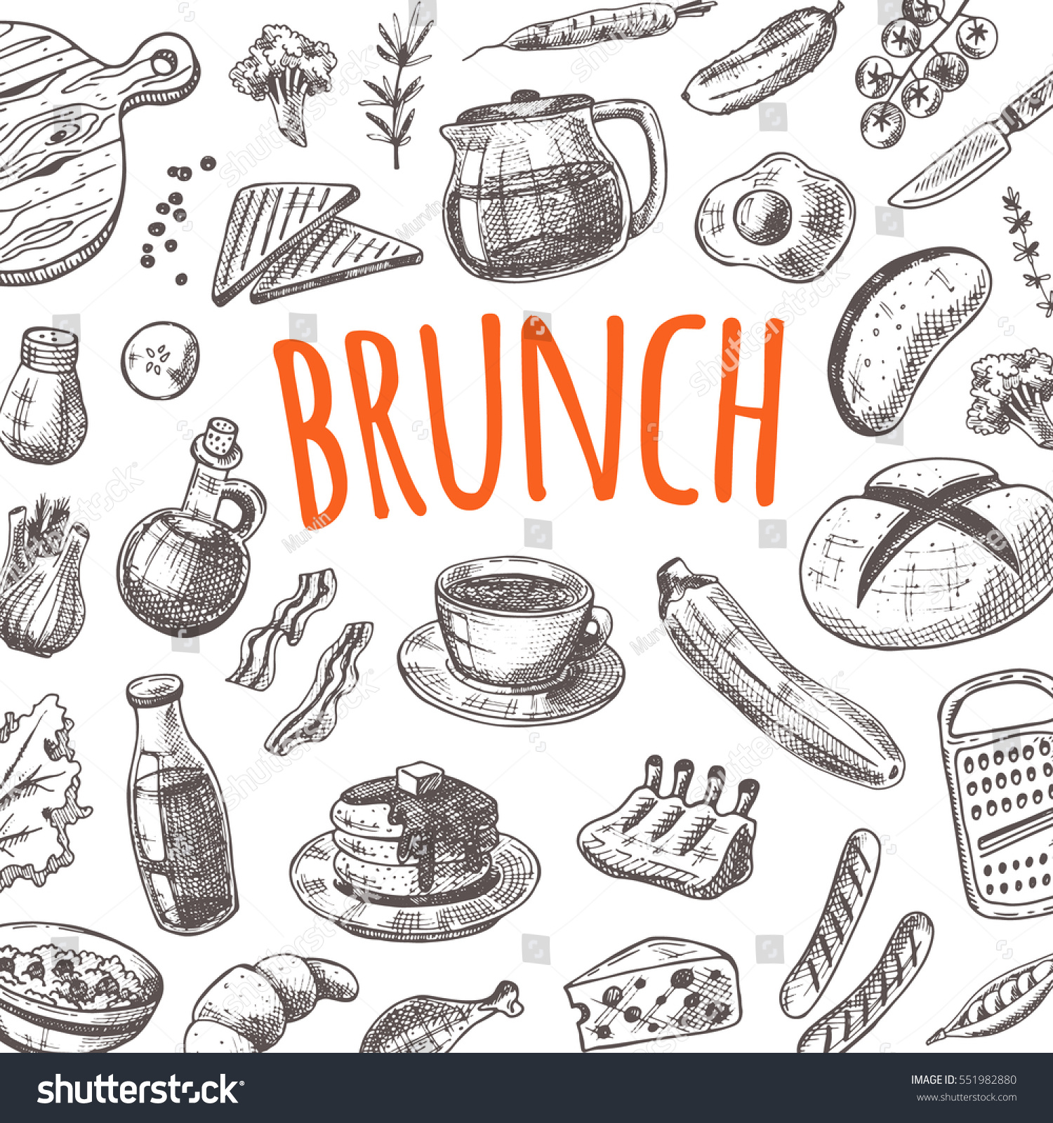 Restaurant Kitchen Hand brunch card elements kitchen hand drawn stock vector 551982880