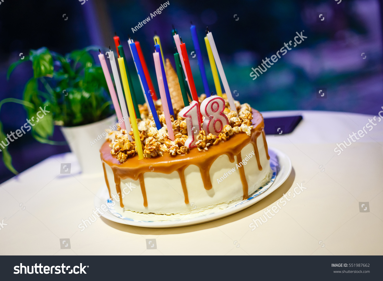 Nice Sponge Happy Birthday Cake Mascarpone Stock Photo Royalty Free