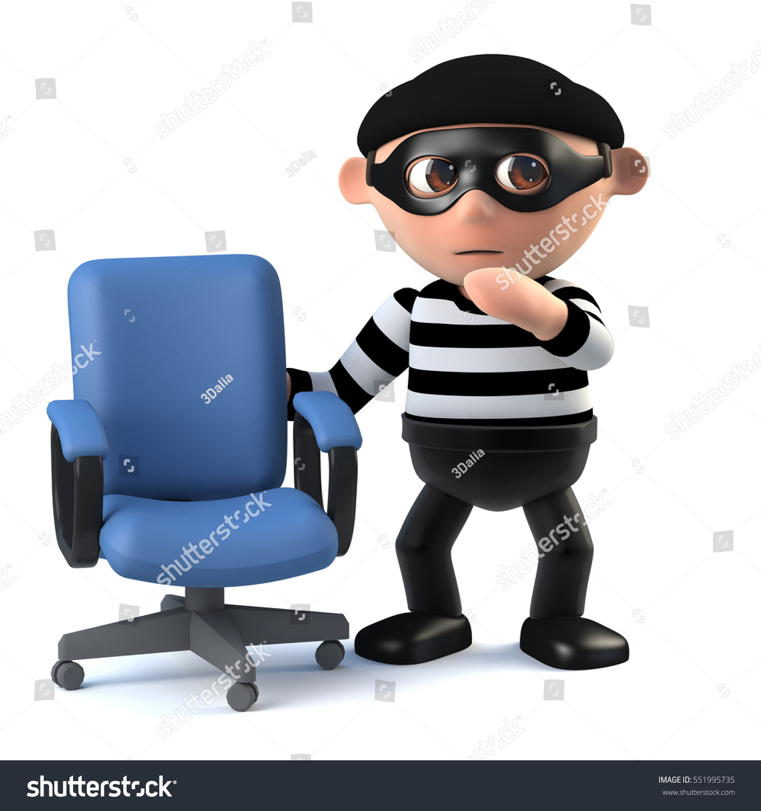 3d Render Burglar Standing Next Empty Stock Illustration
