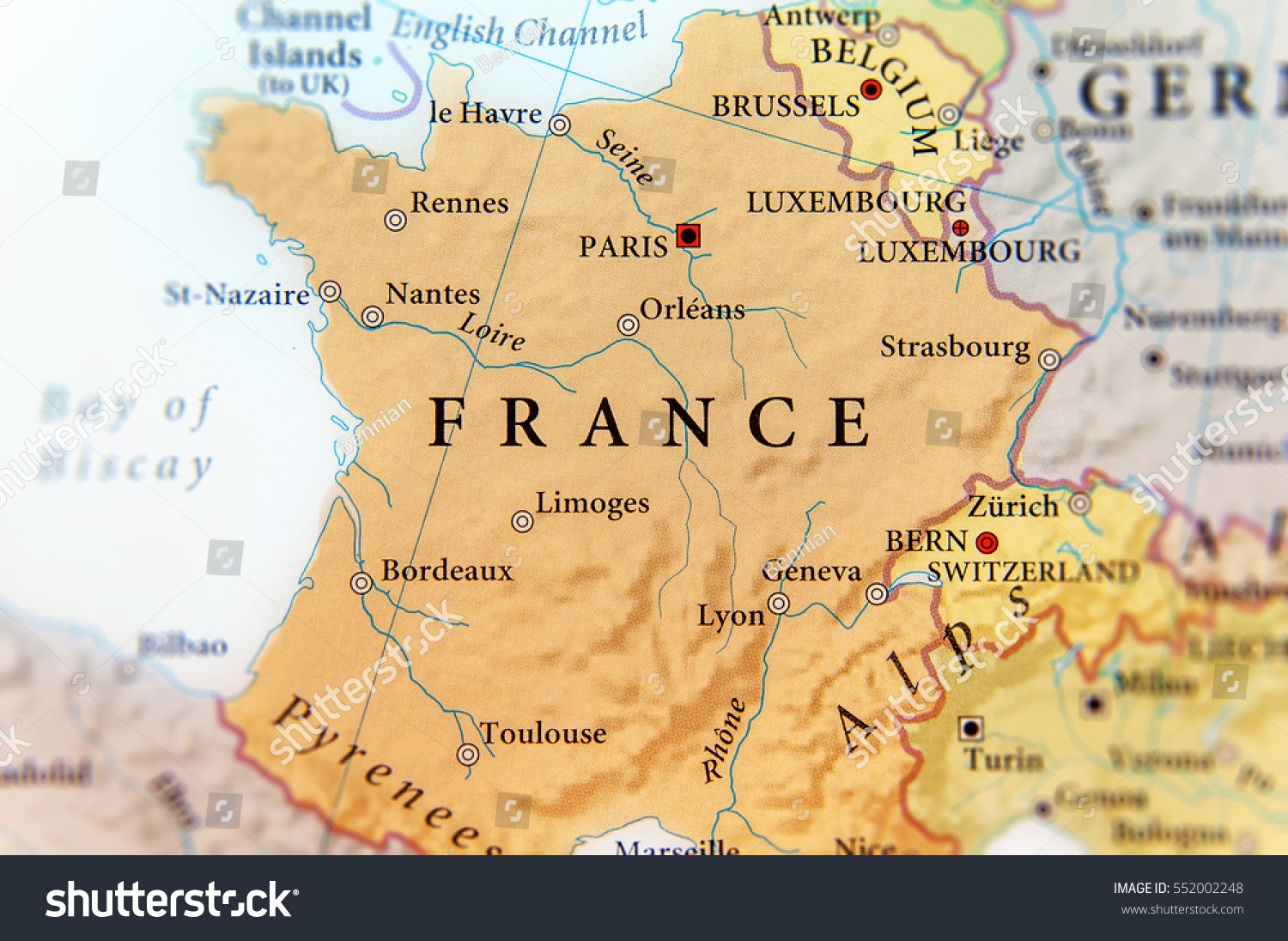 Picture of: Geographic Map European Country France Important Stock Photo Edit Now 552002248