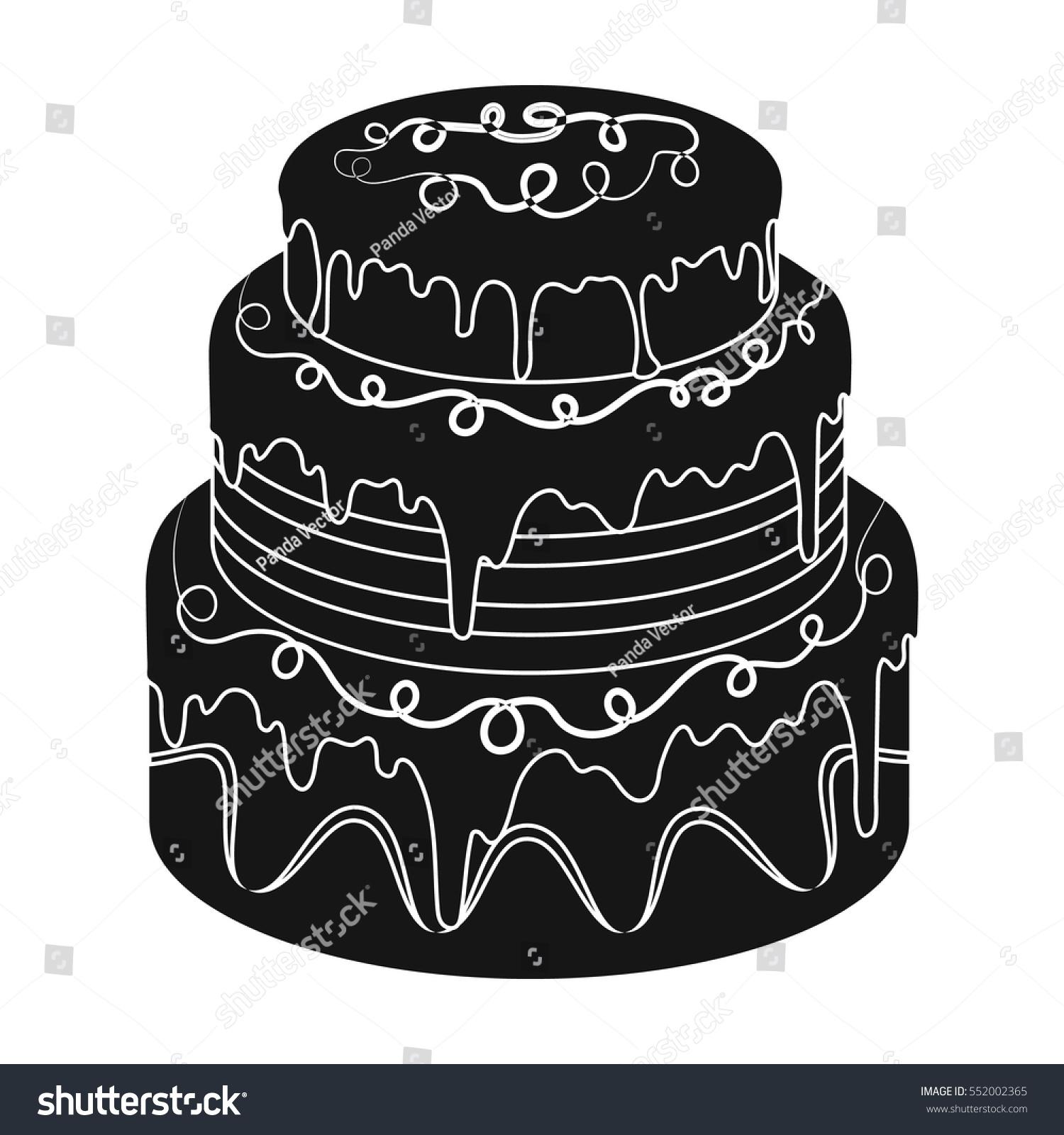 Blue threeply cake icon black style stock vector 552002365 blue three ply cake icon in black style isolated on white background cakes symbol buycottarizona