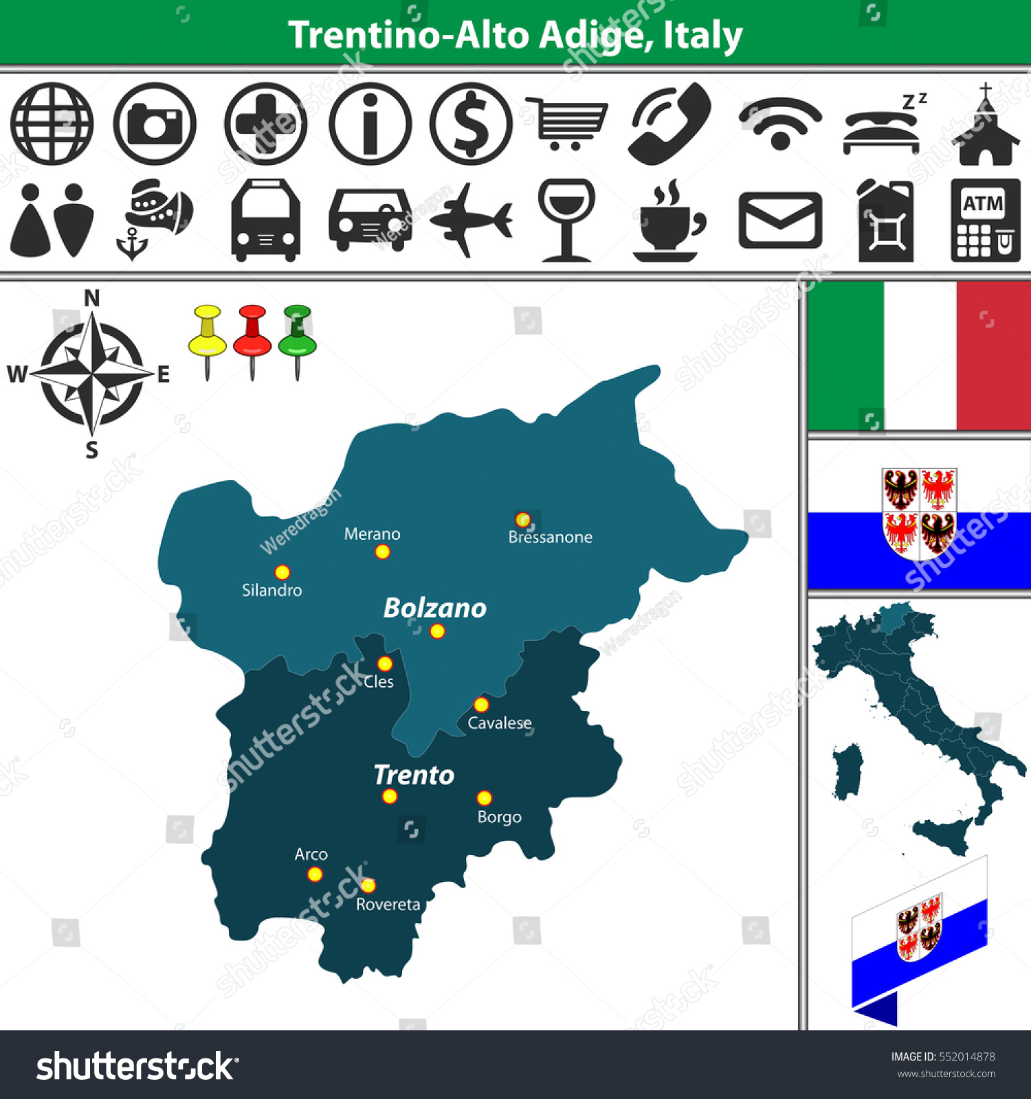 Vector Map Trentino Alto Adige Regions Stock Vector 552014878