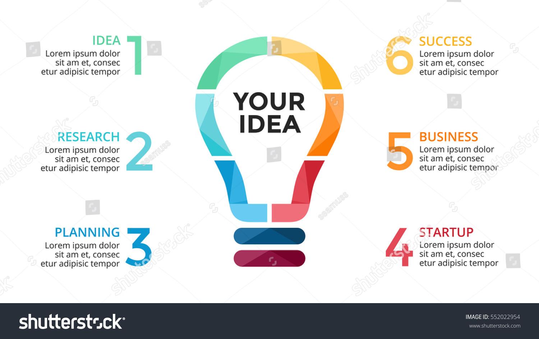 Vector Light Bulb Infographic Study Diagram Stock Vector