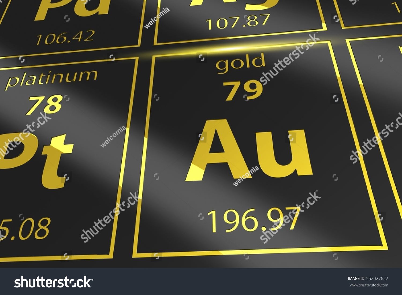 Periodic table golden au mendeleev table stock illustration periodic table golden au mendeleev table closeup on gold gamestrikefo Choice Image