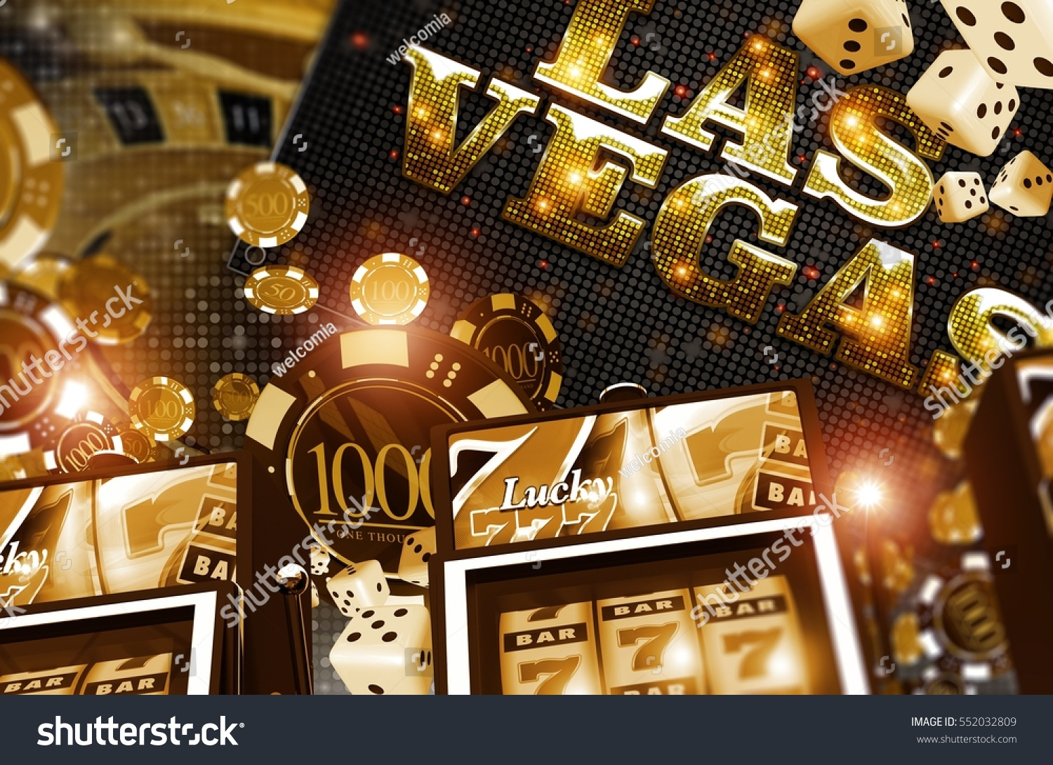 Golden Vegas Casino Concept Casino Games Stock Illustration ...