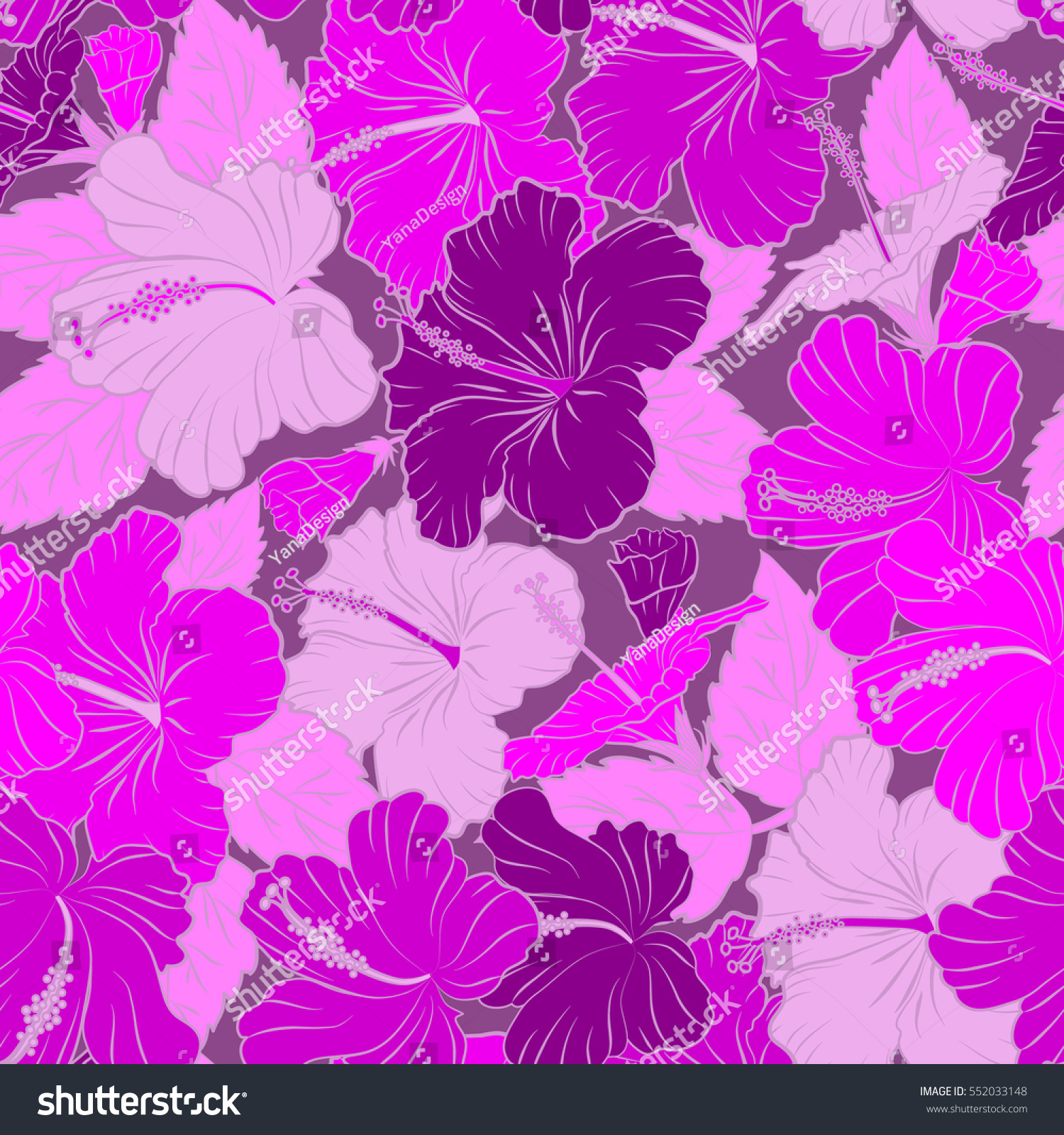Pretty Magenta Purple And Pink Floral Print Motley Seamless