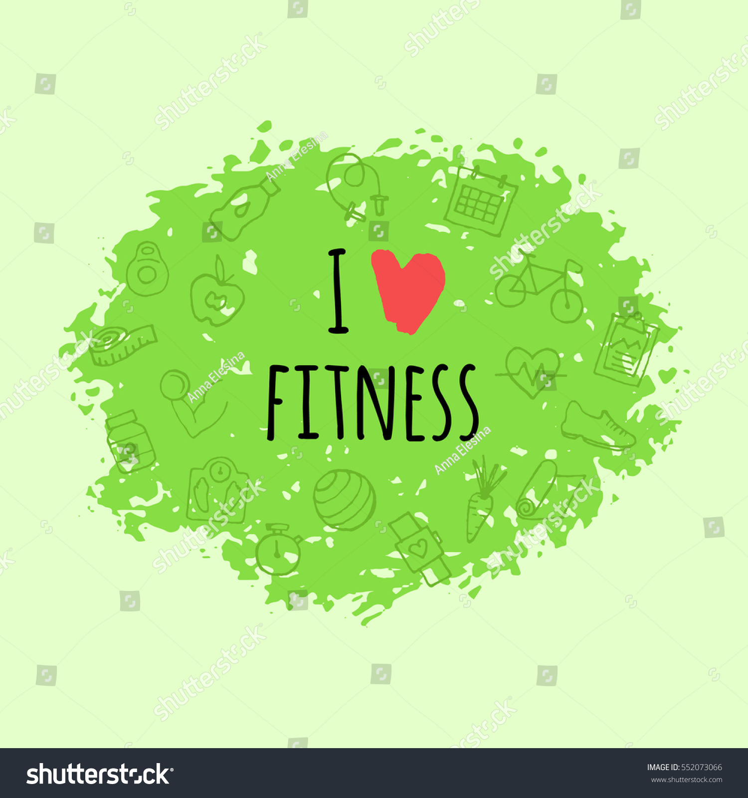 Hand Drawn Background Quote Love Fitness Stock Vector Royalty Free 552073066
