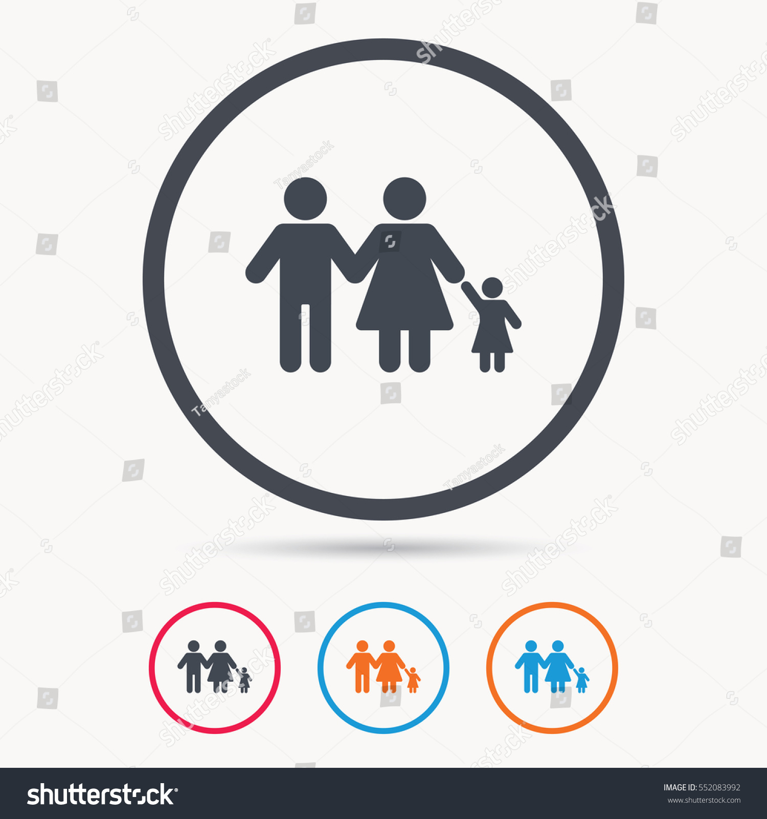 Family Icon Father Mother Child Symbol Stock Vector Royalty Free