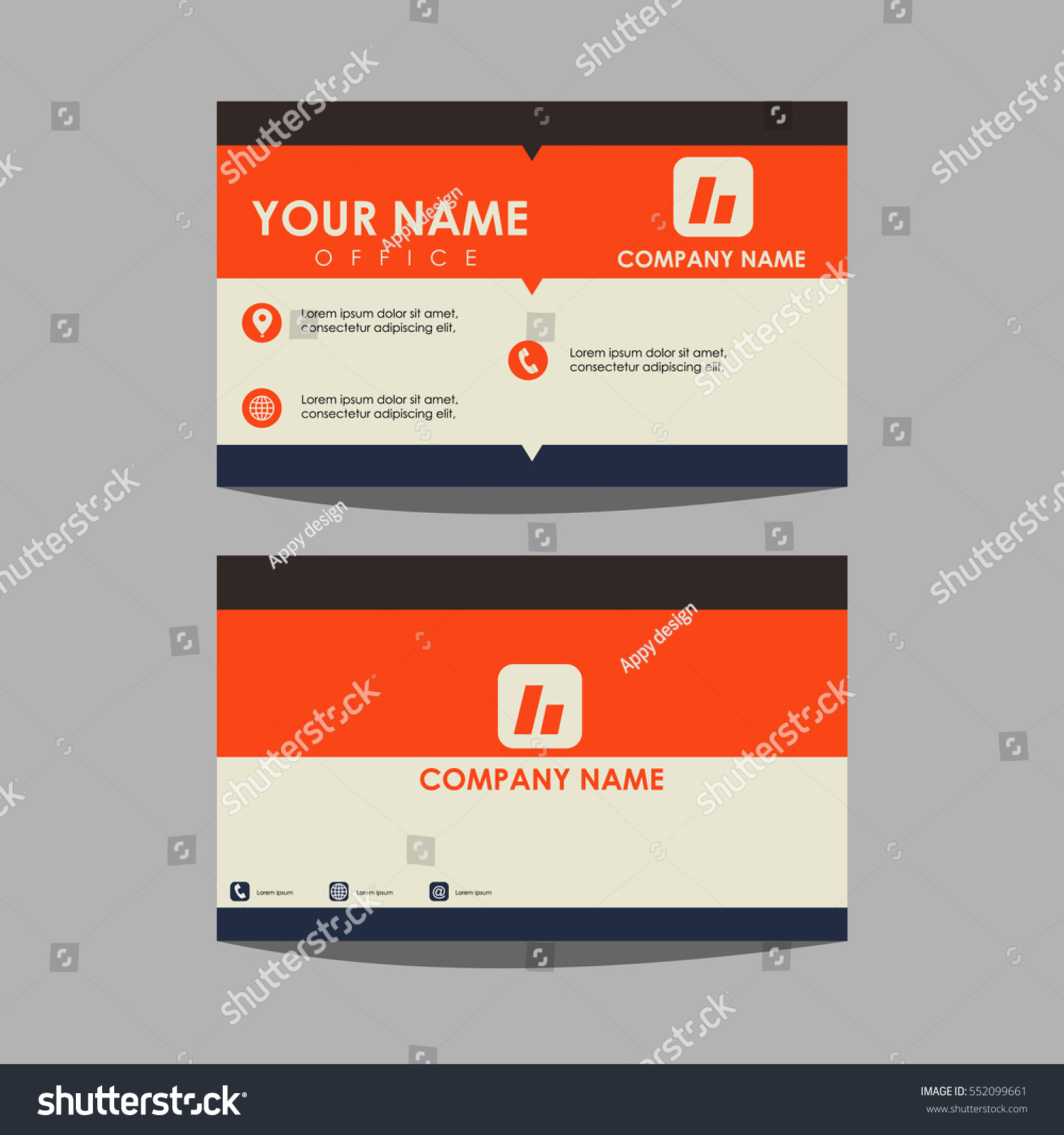 Layout Template Id Card Business Card Stock Vector 552099661 ...