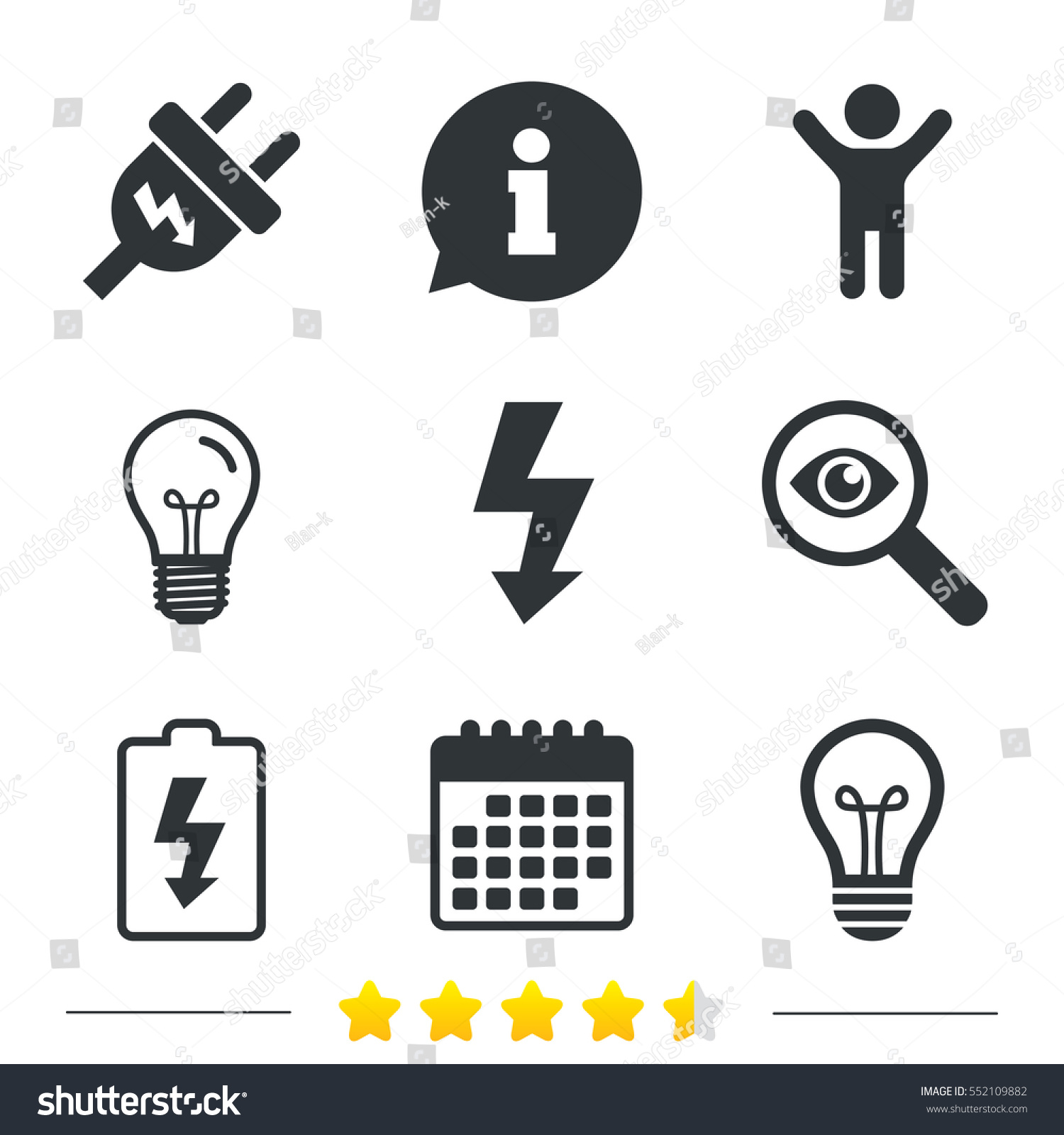 Electric Plug Icon Lamp Bulb Battery Stock Vector HD (Royalty Free ...