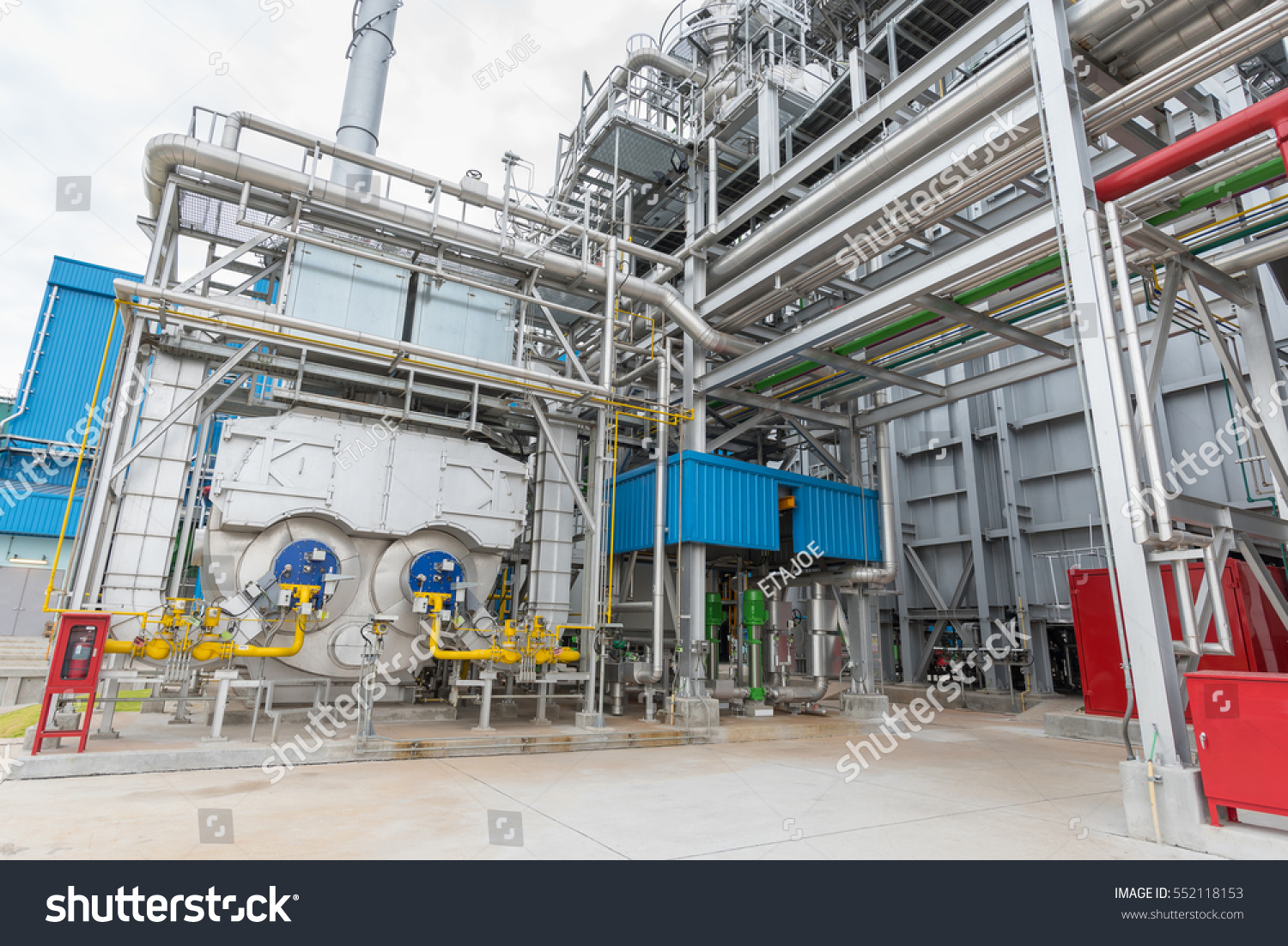 Industrial Power Plant Showing Package Boiler Stock Photo (Royalty ...