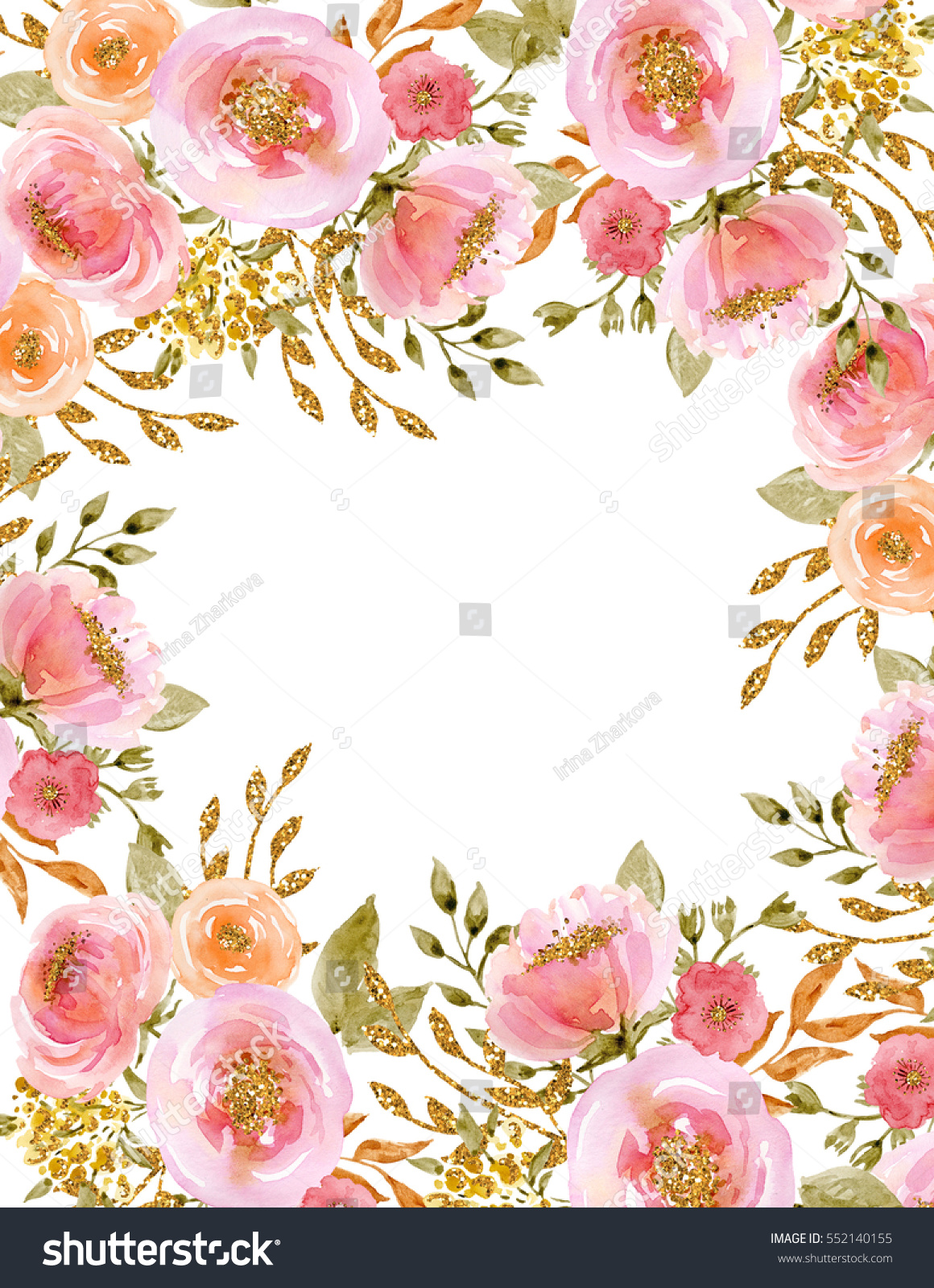 Painted watercolor composition flowers gold sparkle stock painted watercolor composition of flowers with gold sparkle frame border background greeting mightylinksfo