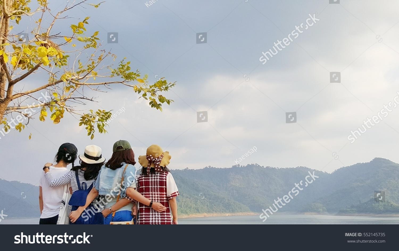 Group Four Asian Girls Standing Back Stock Photo 552145735 - Shutterstock-4081