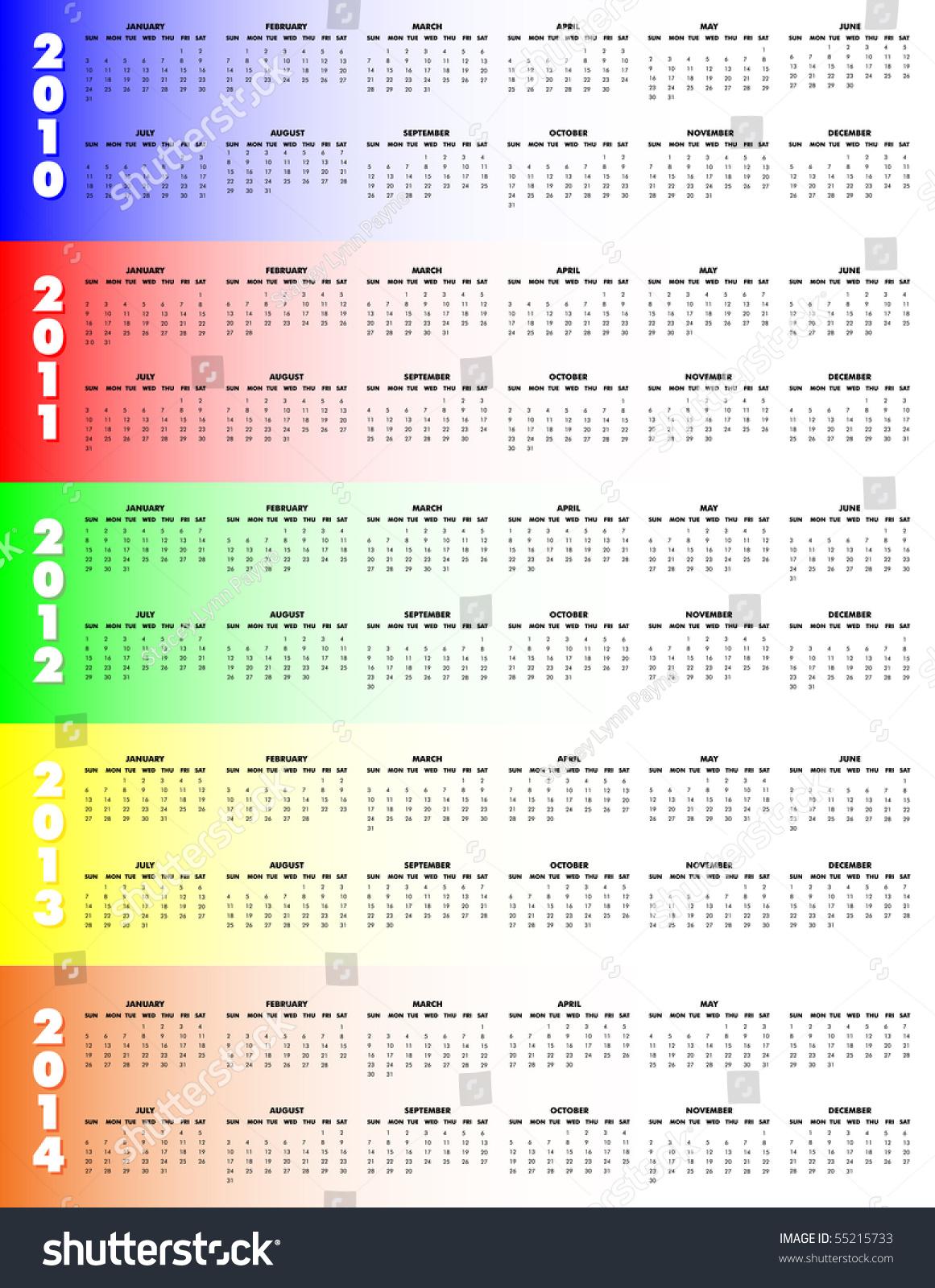 5year Calendar 2010 Through 2014 On Stock Vector 55215733 ...
