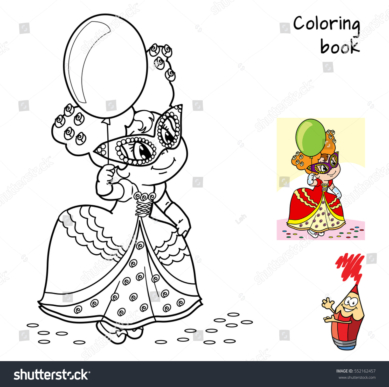 Little Girl In Fancy Dress Mask And With Balloon At The Masquerade Coloring