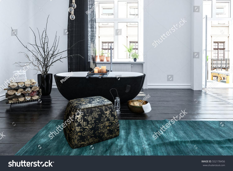 Unusual Black Boat Shaped Bath Tub Stock Illustration 552178456 ...