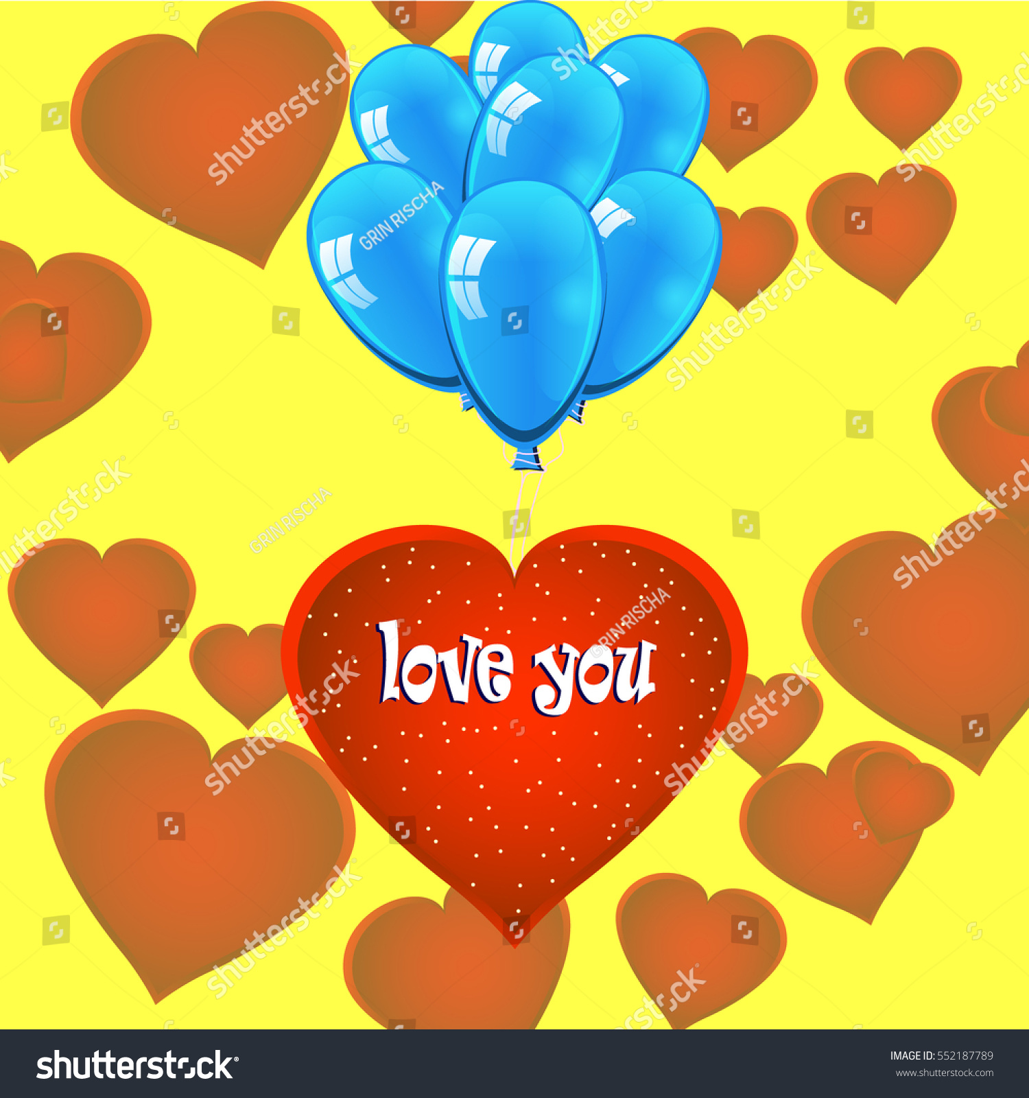 Happy Valentines Day Red Heart Balloons Stock Vector 552187789 ...