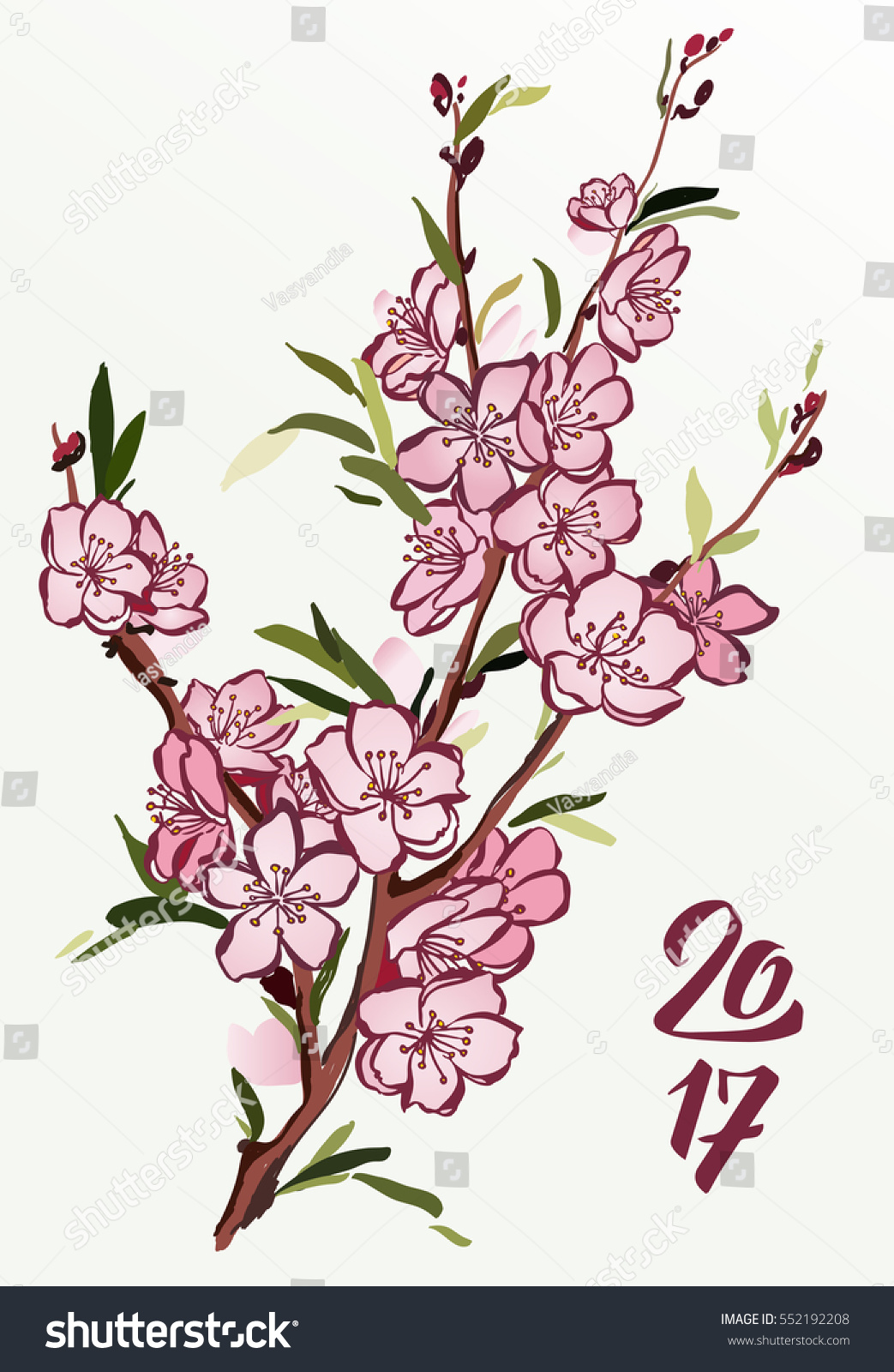 Blooming peach tree branch flowers vector stock vector for Peach tree designs