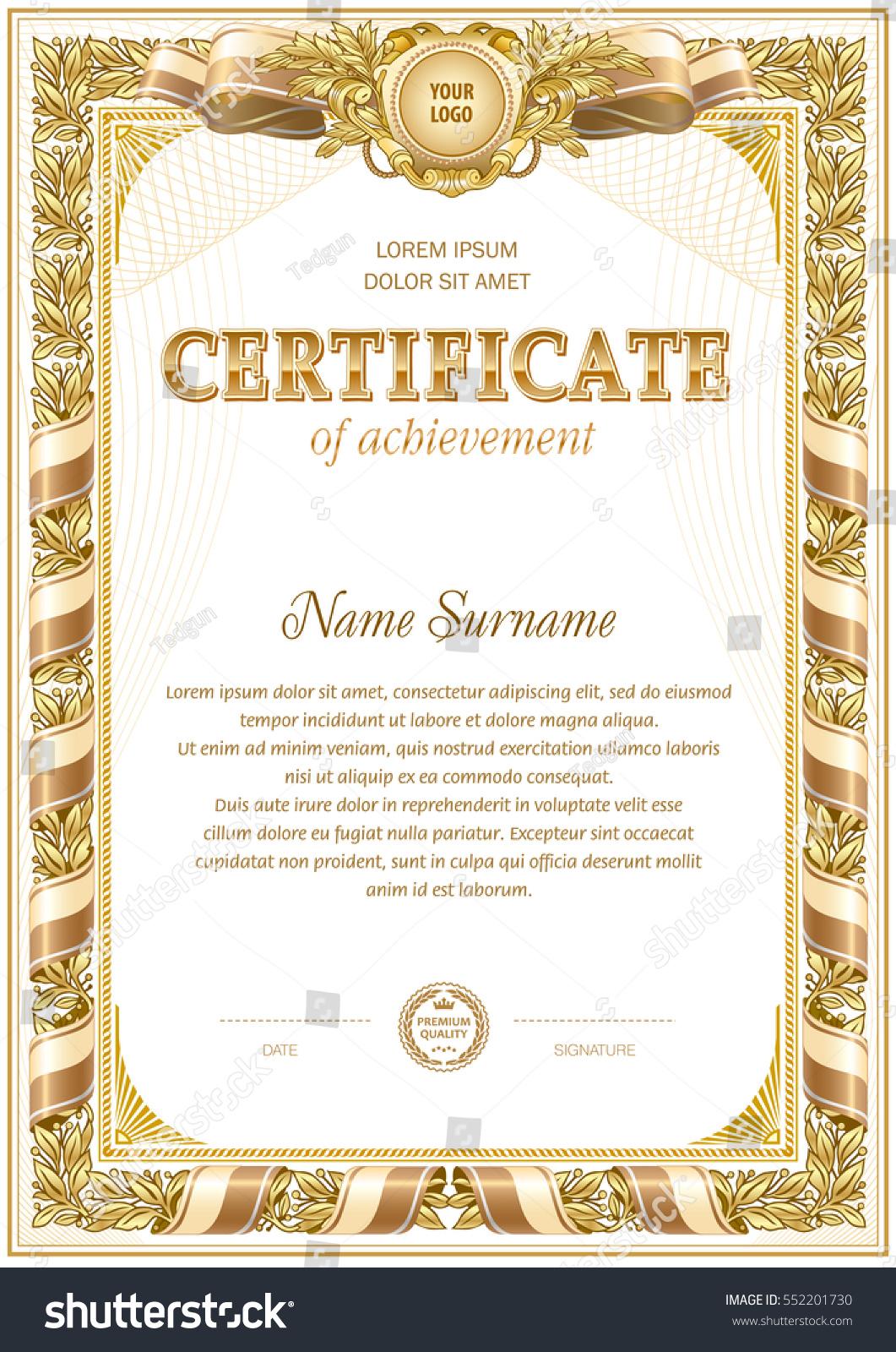 vintage certificate template hard frame border stock