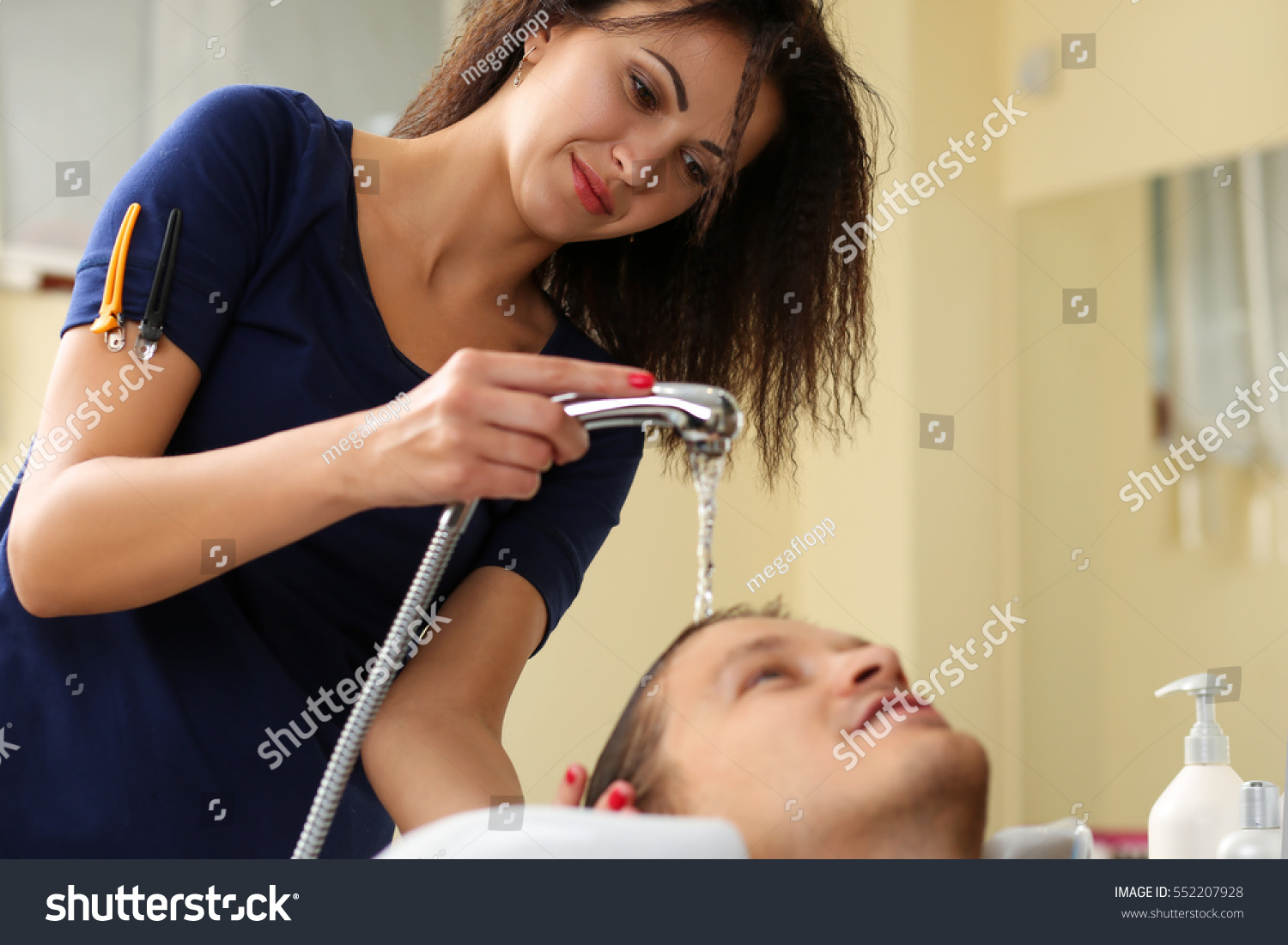 Woman Washing Hair Handsome Smiling Man Stock Photo Edit Now
