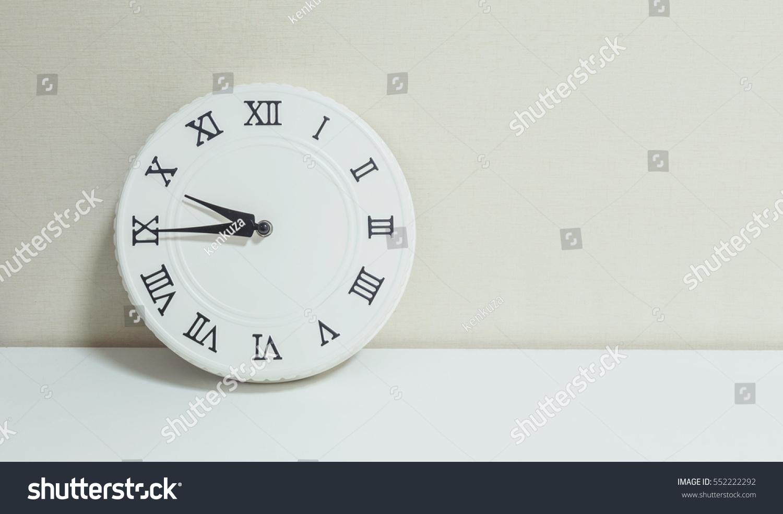 Closeup White Clock Decorate Show Quarter Stock Photo (Edit