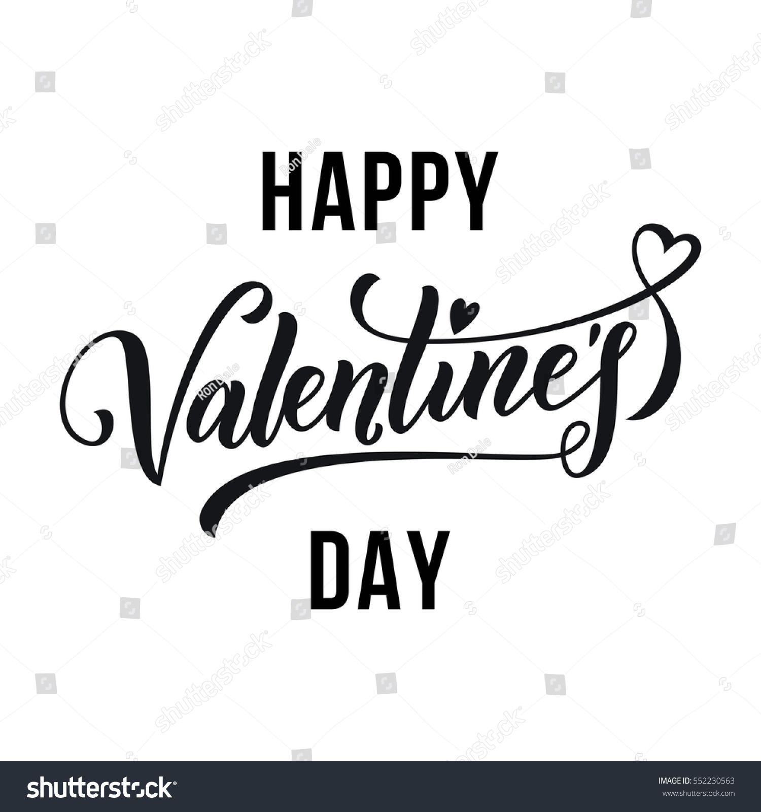 Saint valentine vector heart calligraphy text stock