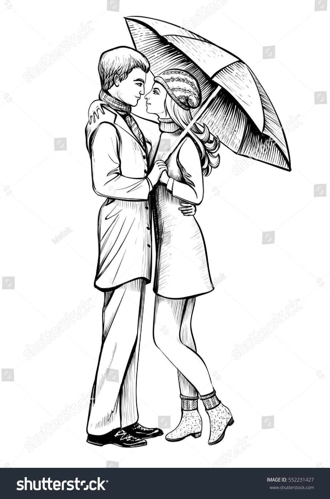 Couple in love under umbrella black and white hand drawn sketch romantic scene with