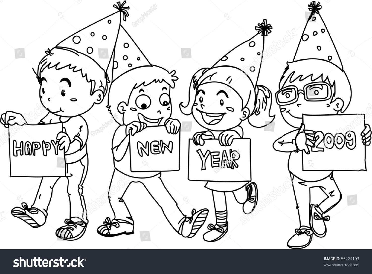 Sketch Kids Wishing Happy New Year Stock Illustration 55224103 - Shutterstock