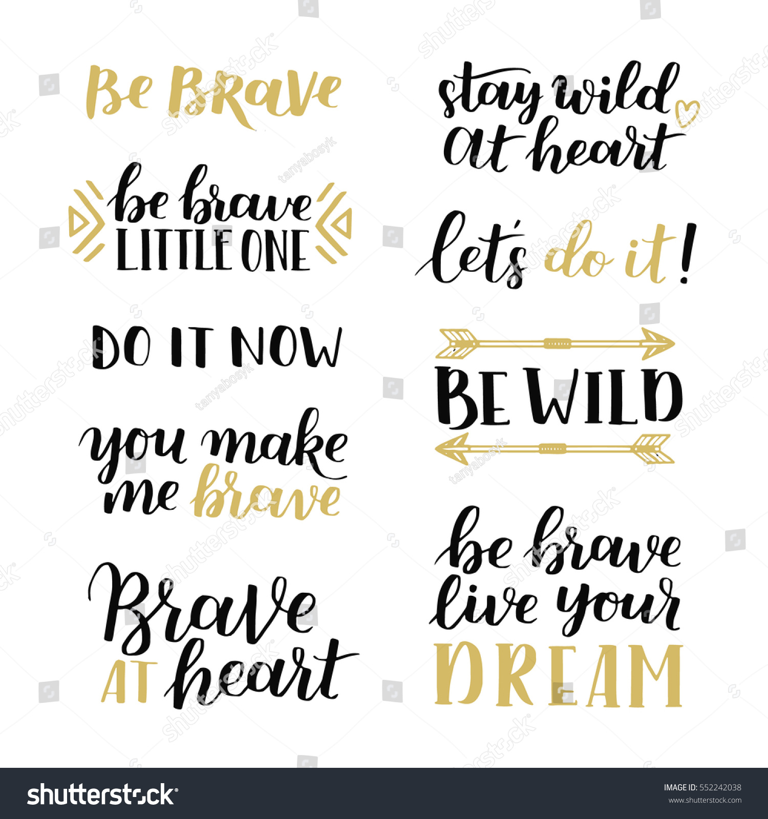 Quotes Courage Set Hand Drawn Quotes About Courage Stock Vector 552242038