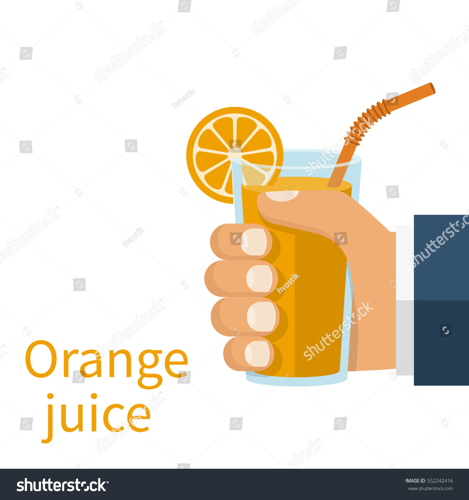 Glass juice cups design - Orange Juice In A Glass Cup Hold In Hand Vector Illustration Flat Design Isolated