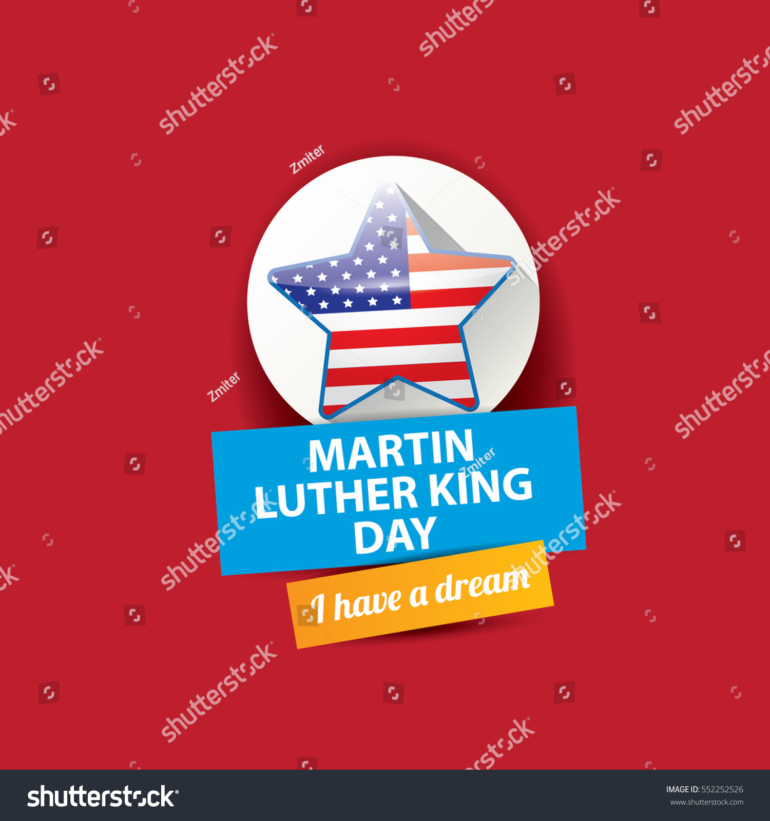 Vector Martin Luther King Jr Day Us Sticker Or Label Isolated On Red