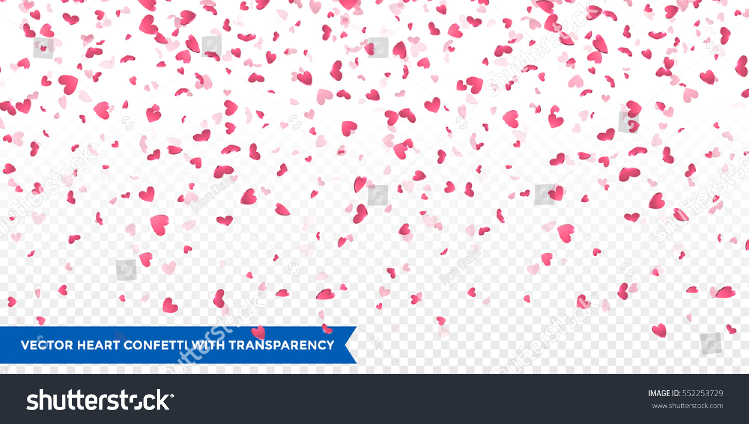 Heart confetti of Valentines petals falling on transparent background. Flower petal in shape of heart confetti for Women's Day #552253729